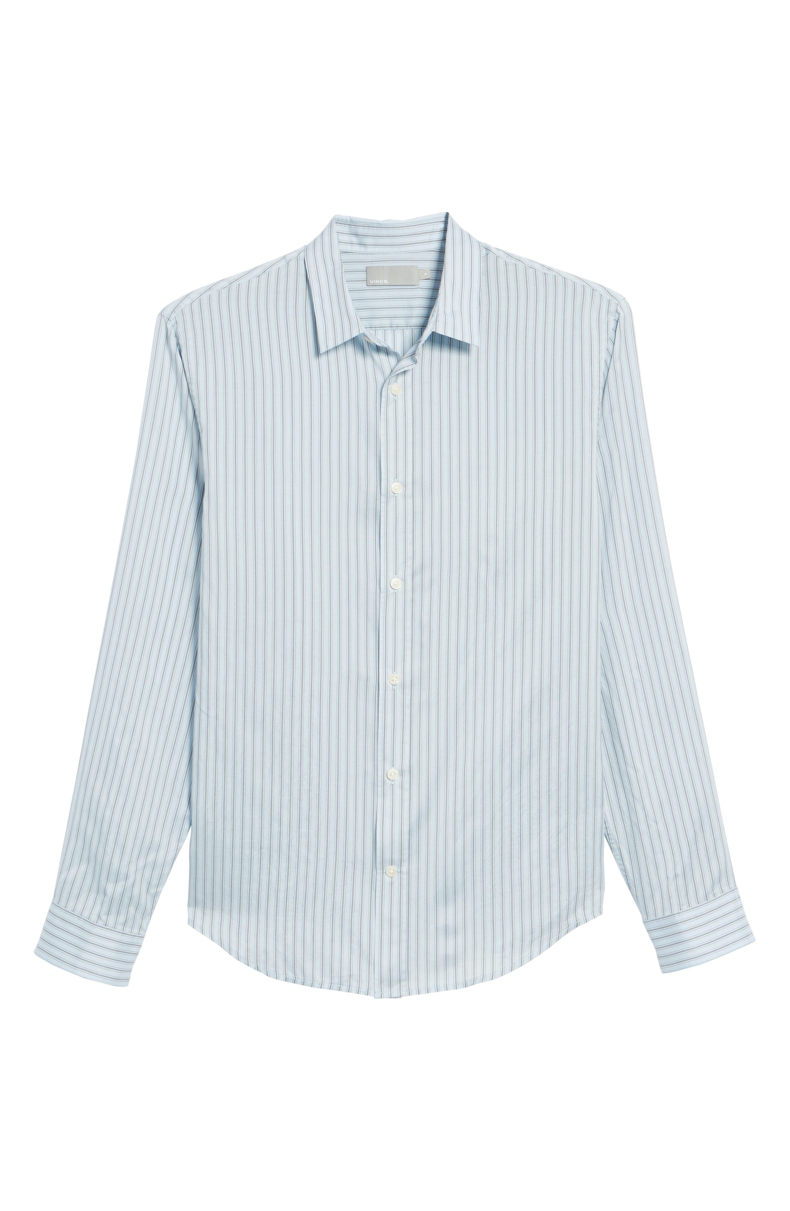 Slim Fit Stretch Stripe Sport Shirt,                             Alternate thumbnail 6, color,                             Feather