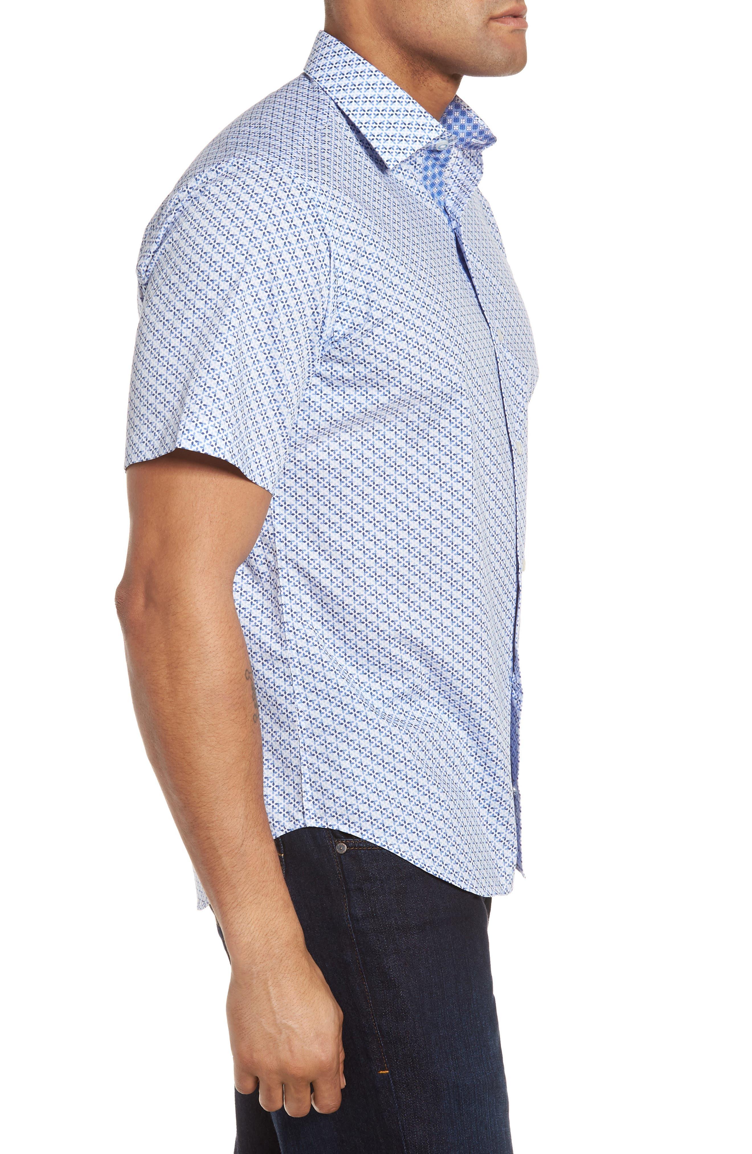 Shiloh Regular Fit Print Sport Shirt,                             Alternate thumbnail 3, color,                             Light Blue