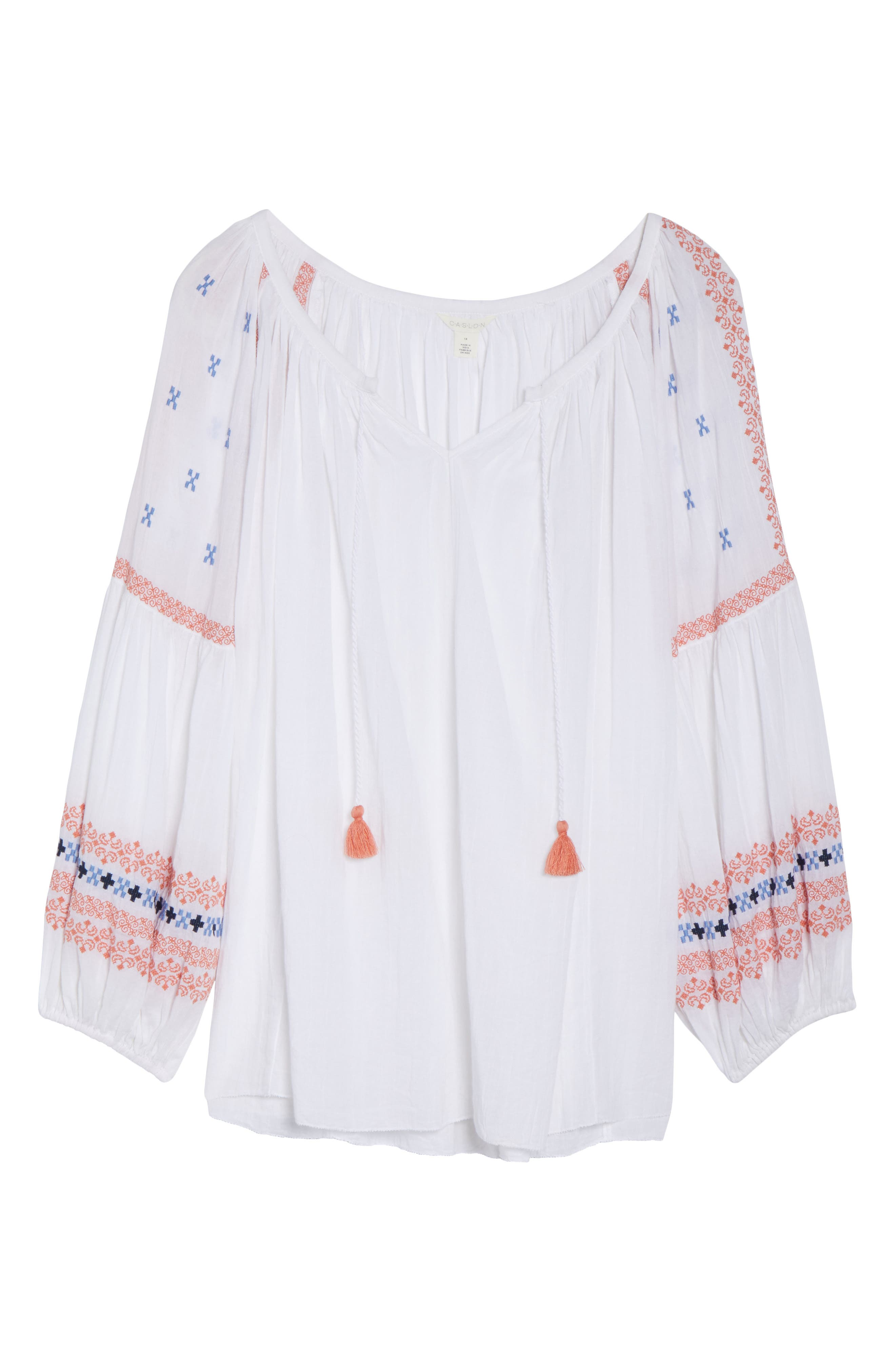 Embroidered Peasant Top,                             Alternate thumbnail 6, color,                             White- Coral Pattern