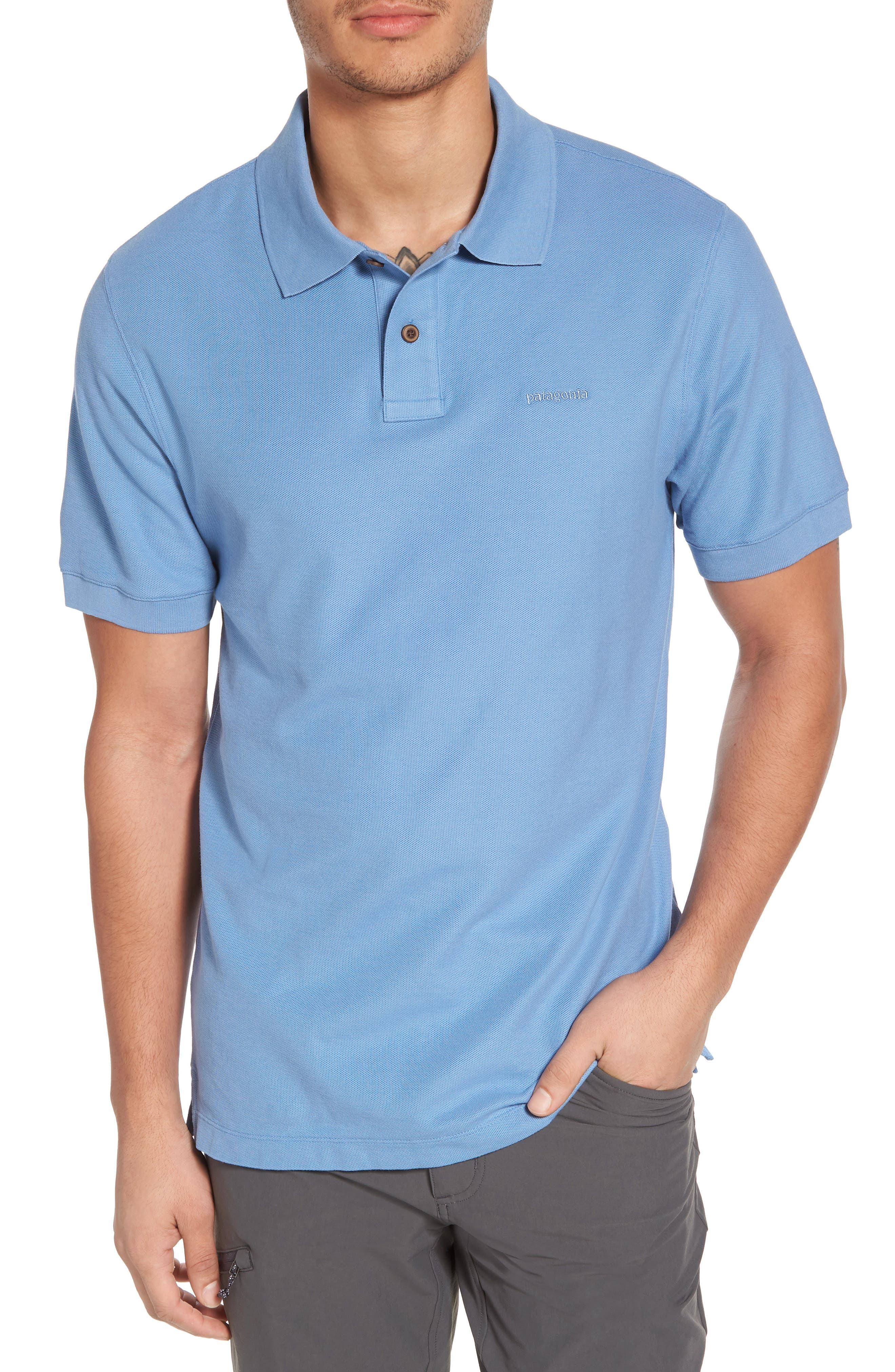Belwe Relaxed Fit Piqué Polo,                             Main thumbnail 1, color,                             Railroad Blue