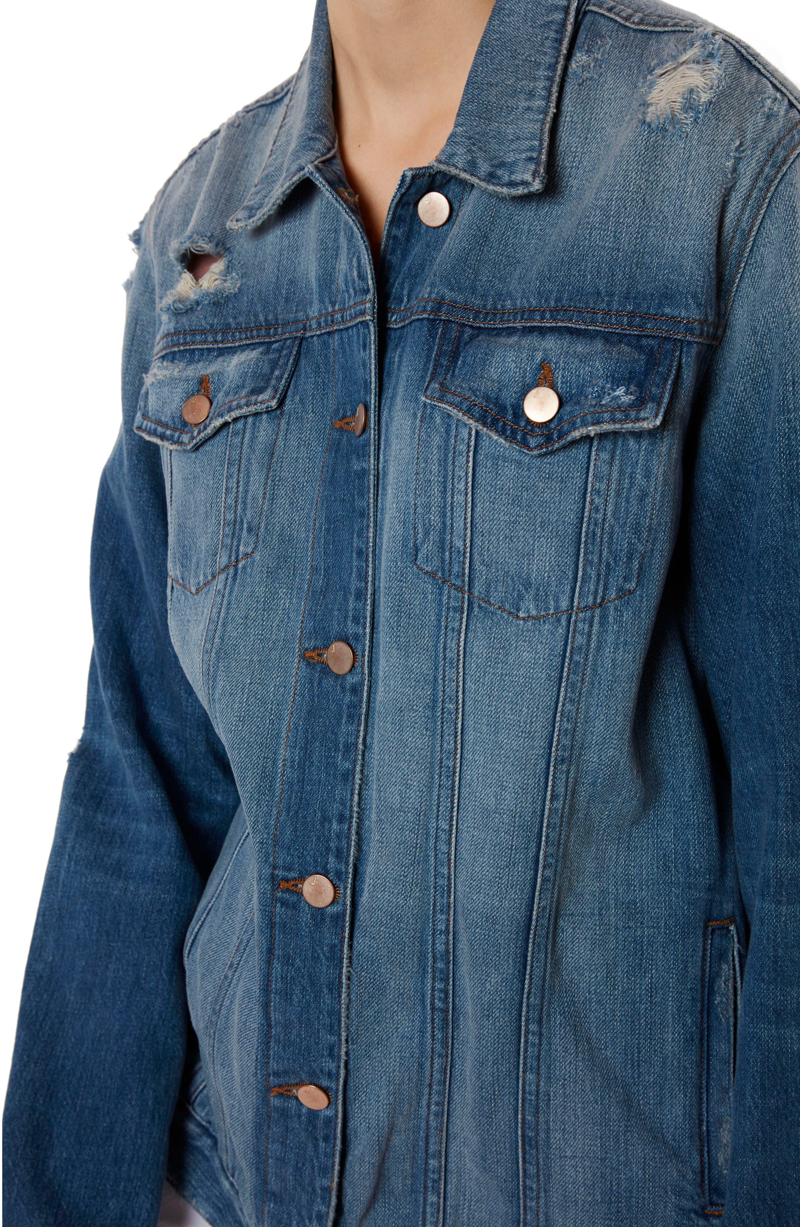 Cyra Oversize Denim Jacket,                             Alternate thumbnail 4, color,                             Broken Heart
