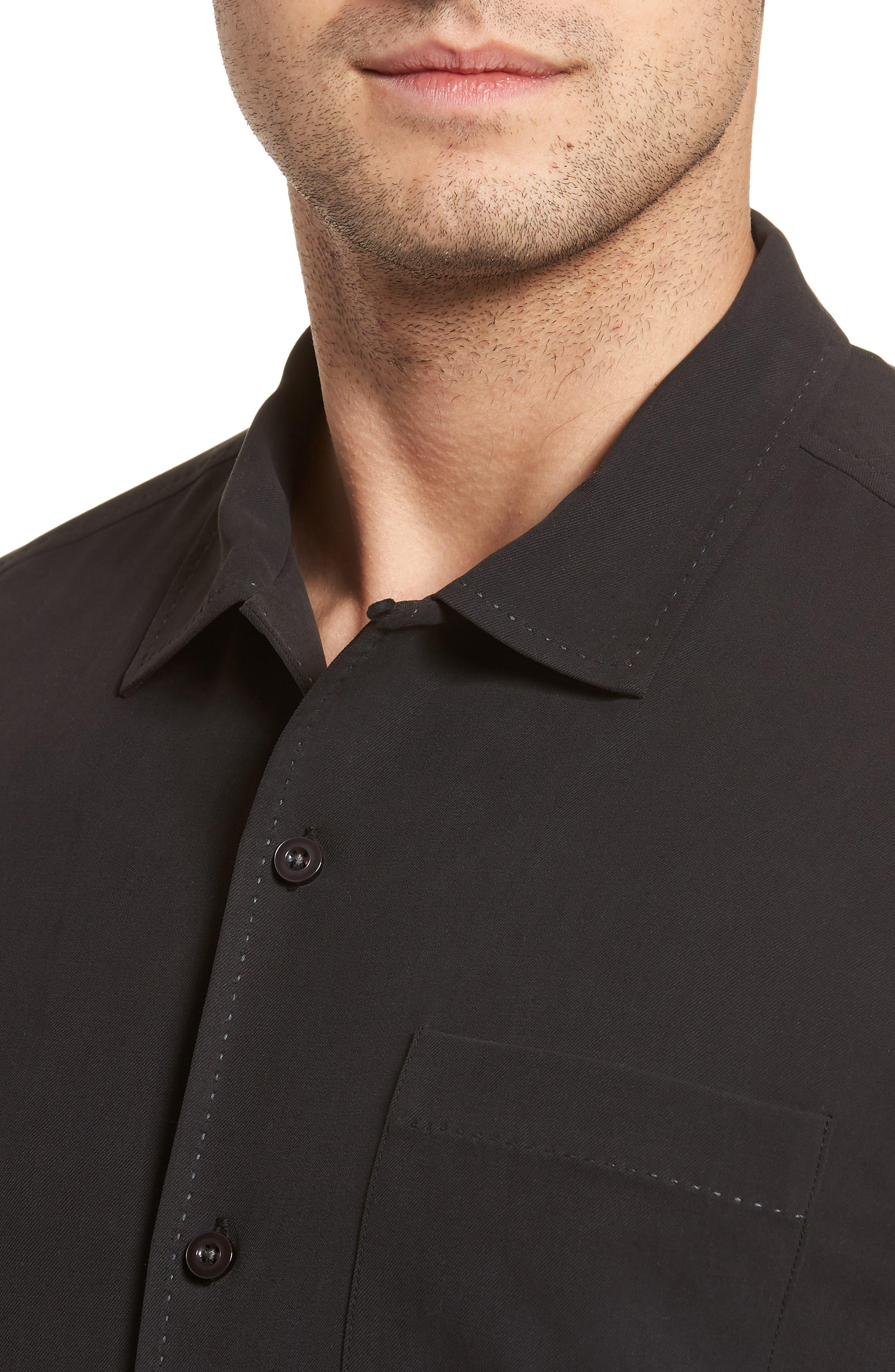 Catalina Twill Sport Shirt,                             Alternate thumbnail 4, color,                             Black