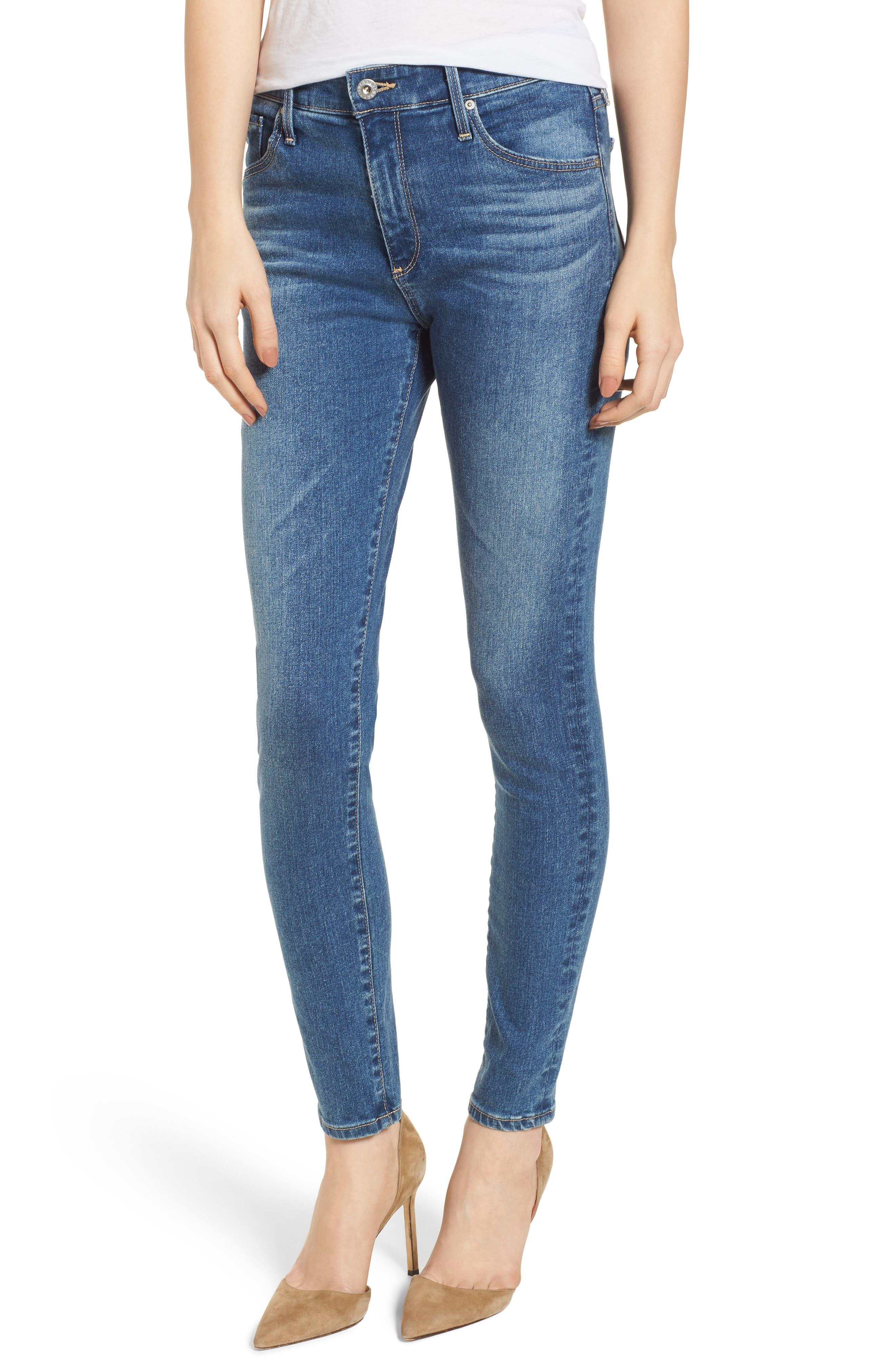 Alternate Image 1 Selected - AG The Farrah Ankle Skinny Jeans (California Blue)