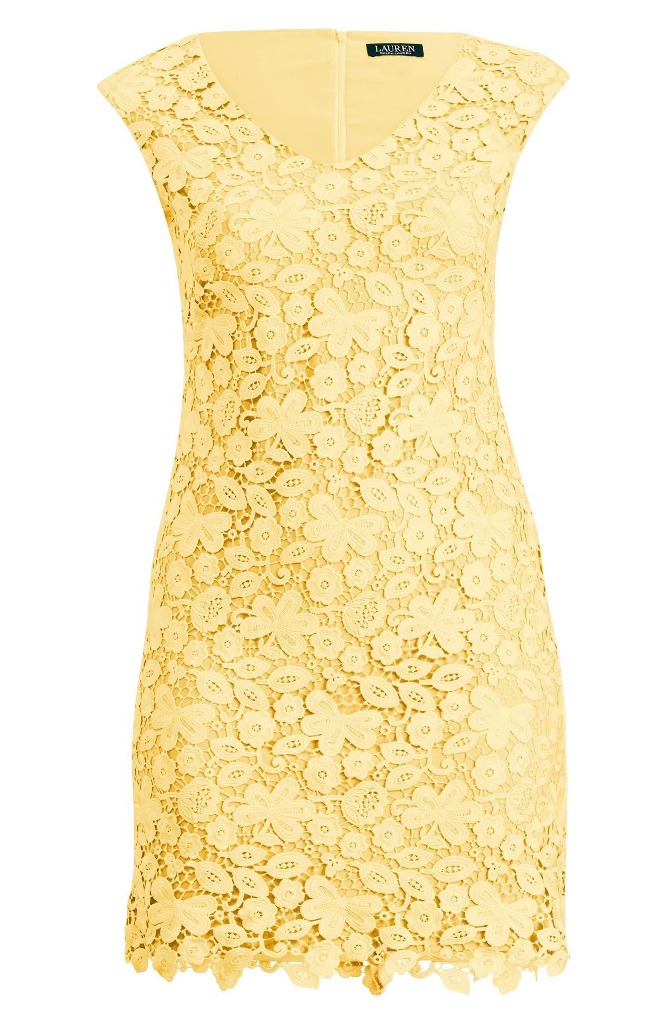 Montie Lace Sheath Dress,                             Alternate thumbnail 3, color,                             Island Yellow