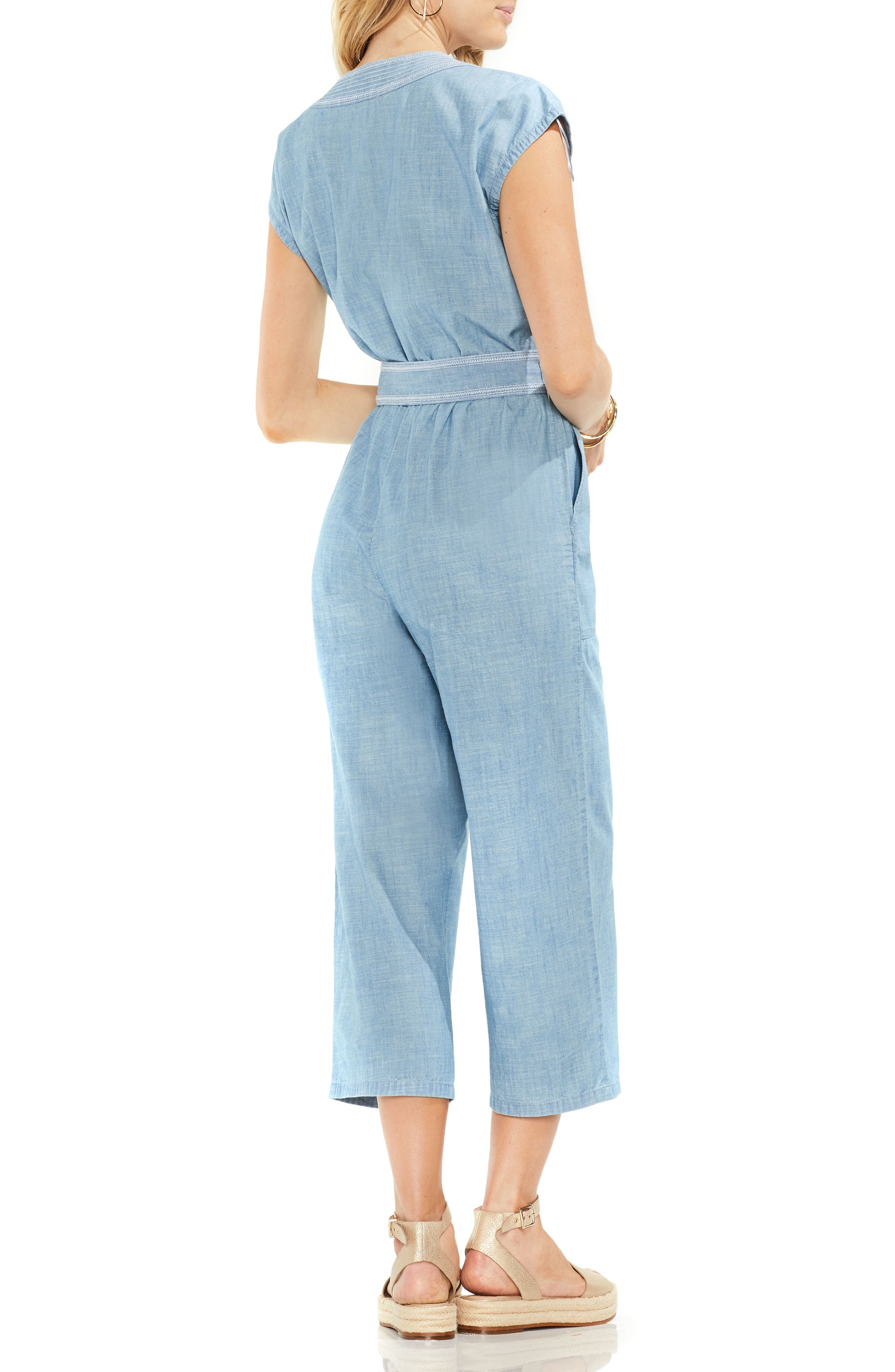 Crop Chambray Jumpsuit,                             Alternate thumbnail 3, color,                             Ice Lagoon