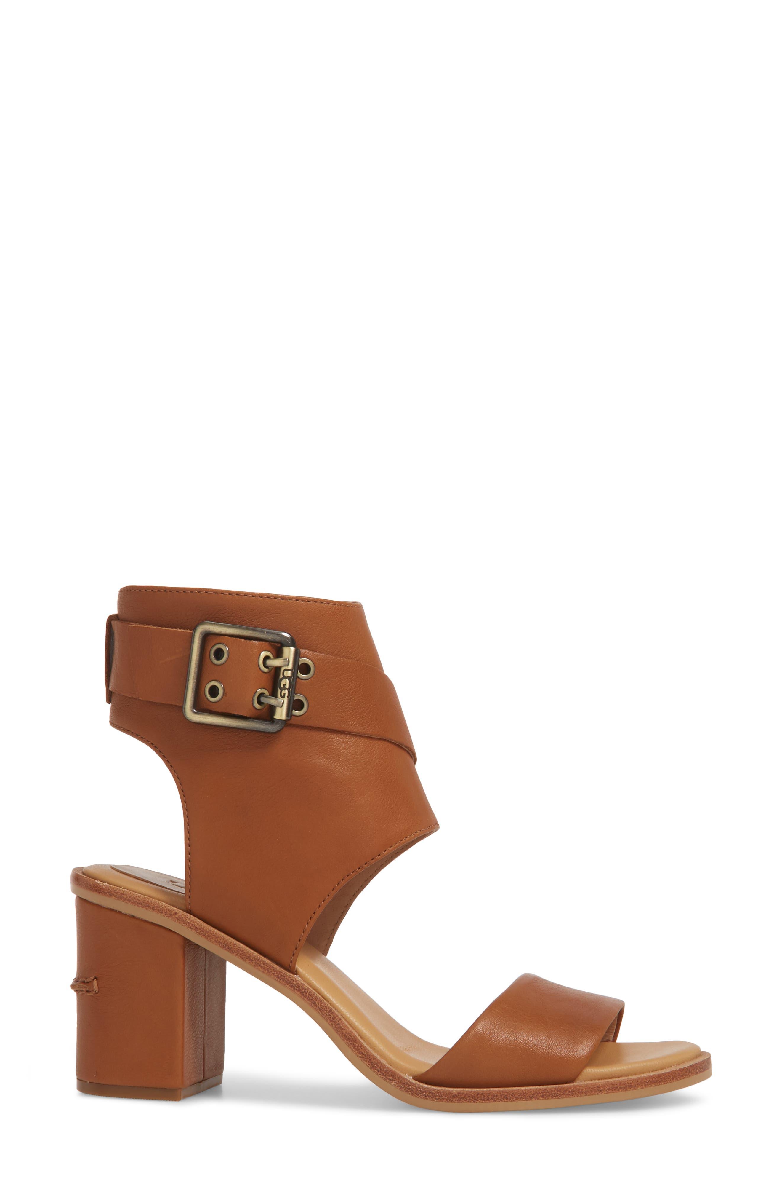 Claudette Cuff Sandal,                             Alternate thumbnail 3, color,                             Almond Leather