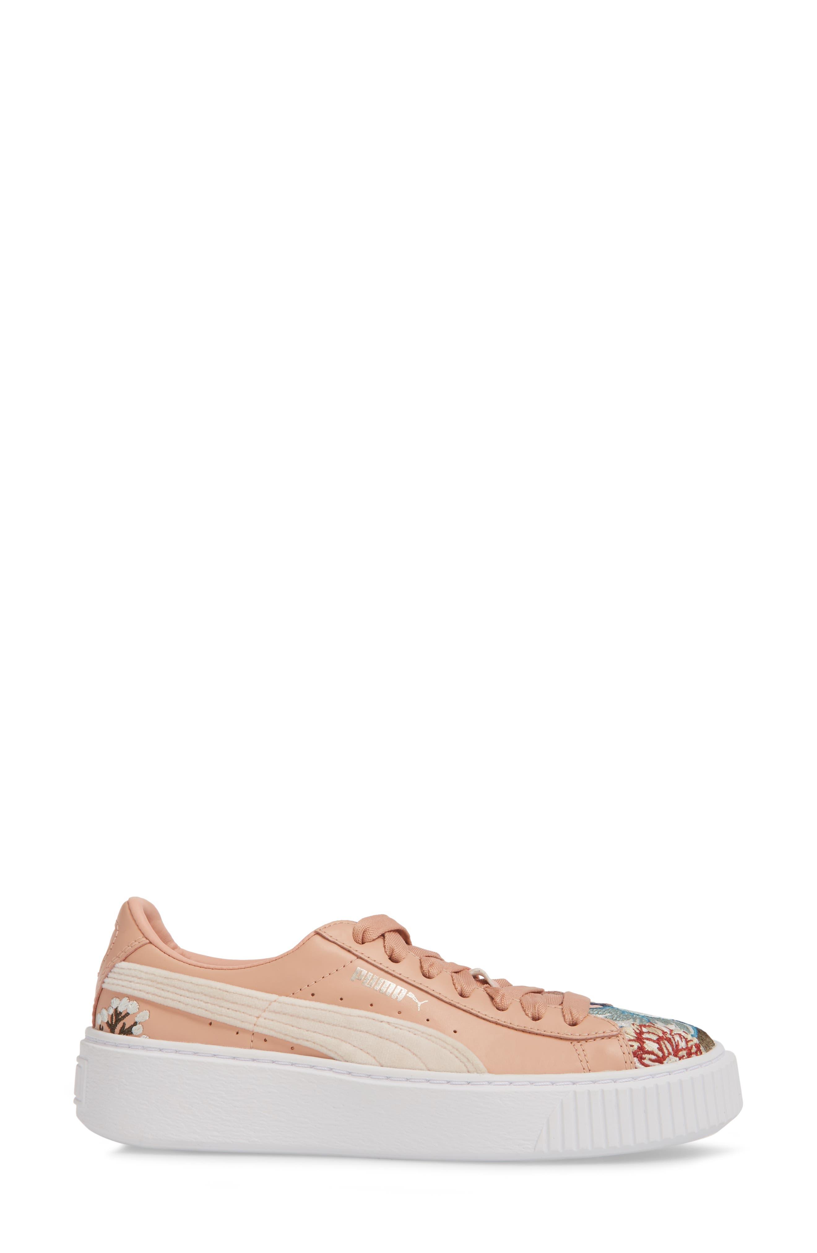 Platform Hyper Embroidered Sneaker,                             Alternate thumbnail 3, color,                             Peach Beige