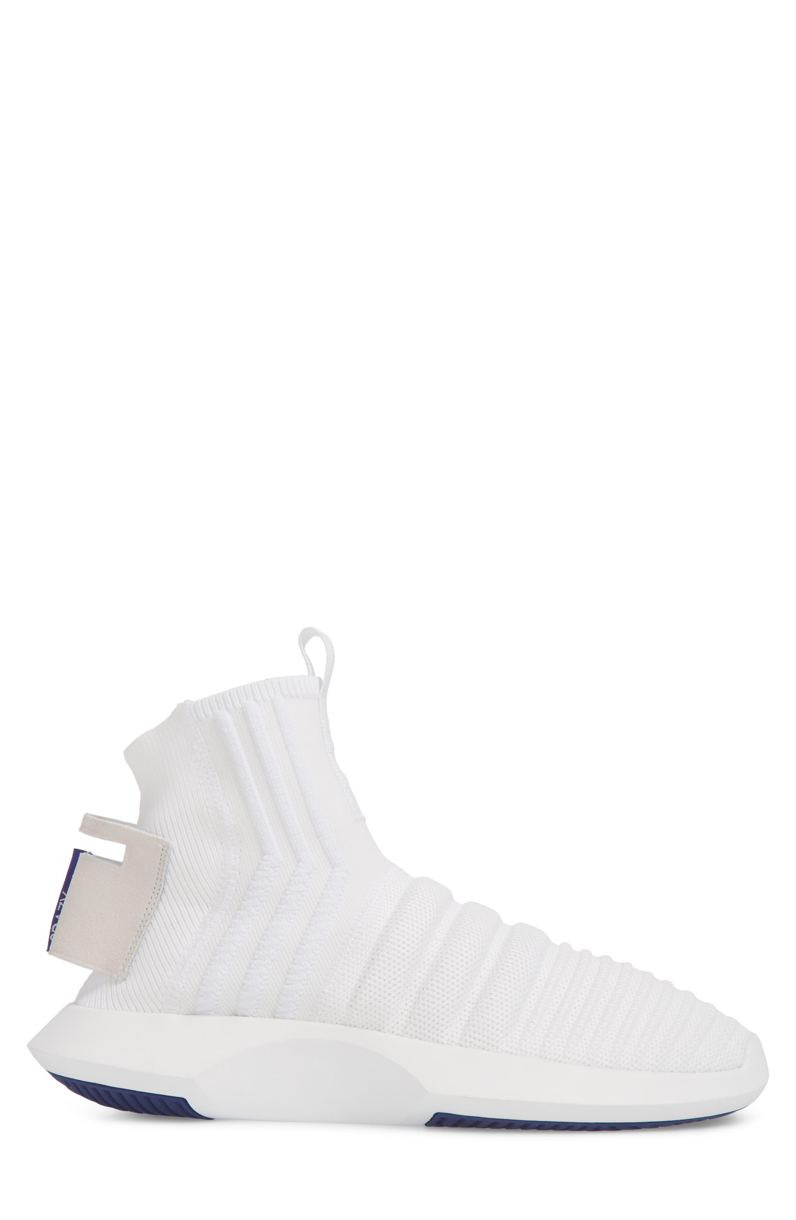 Crazy 1 ADV Sock Primeknit Sneaker,                             Alternate thumbnail 3, color,                             White/ Real Purple