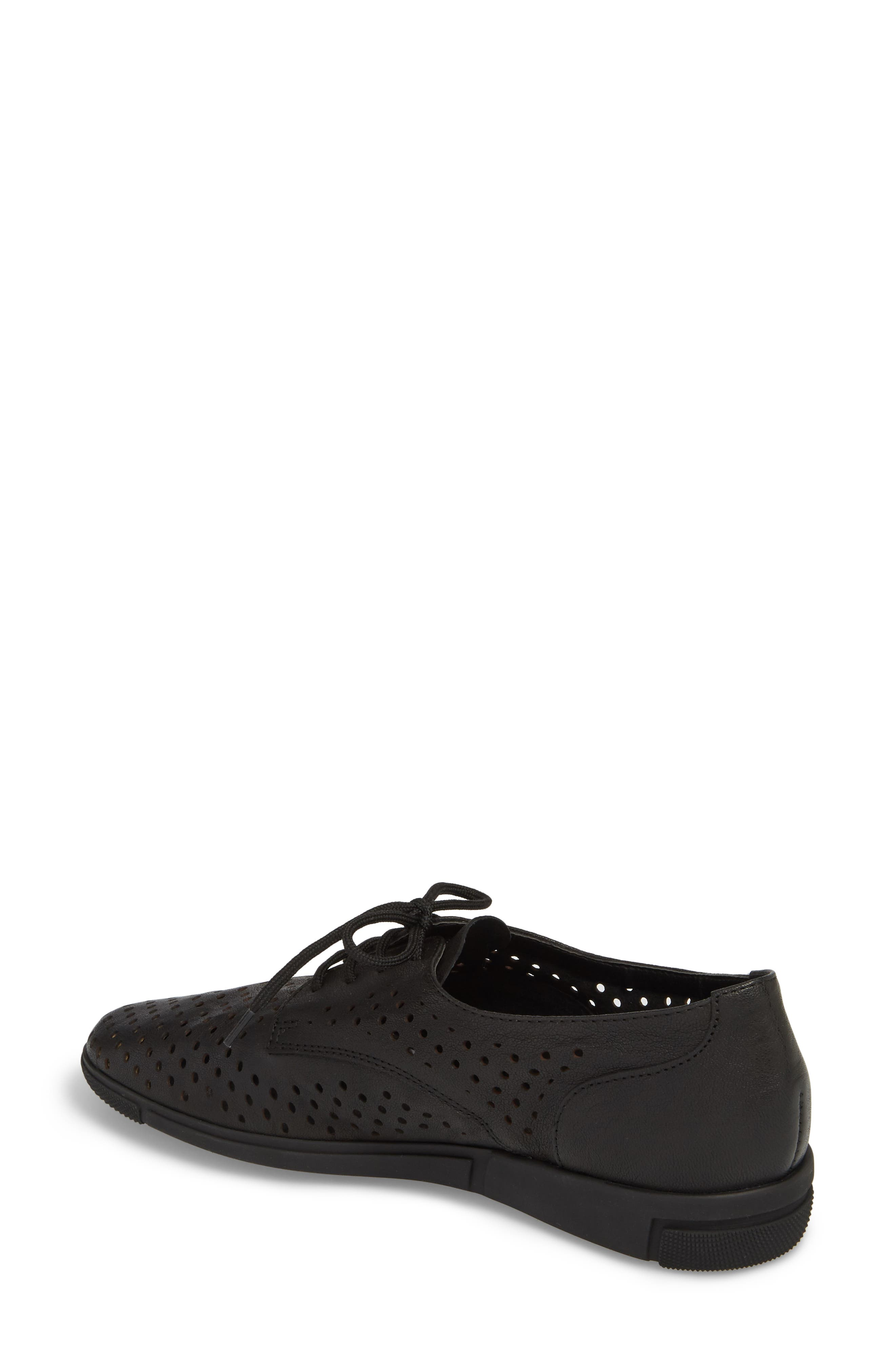 Dirce Perforated Oxford Flat,                             Alternate thumbnail 2, color,                             Black Leather