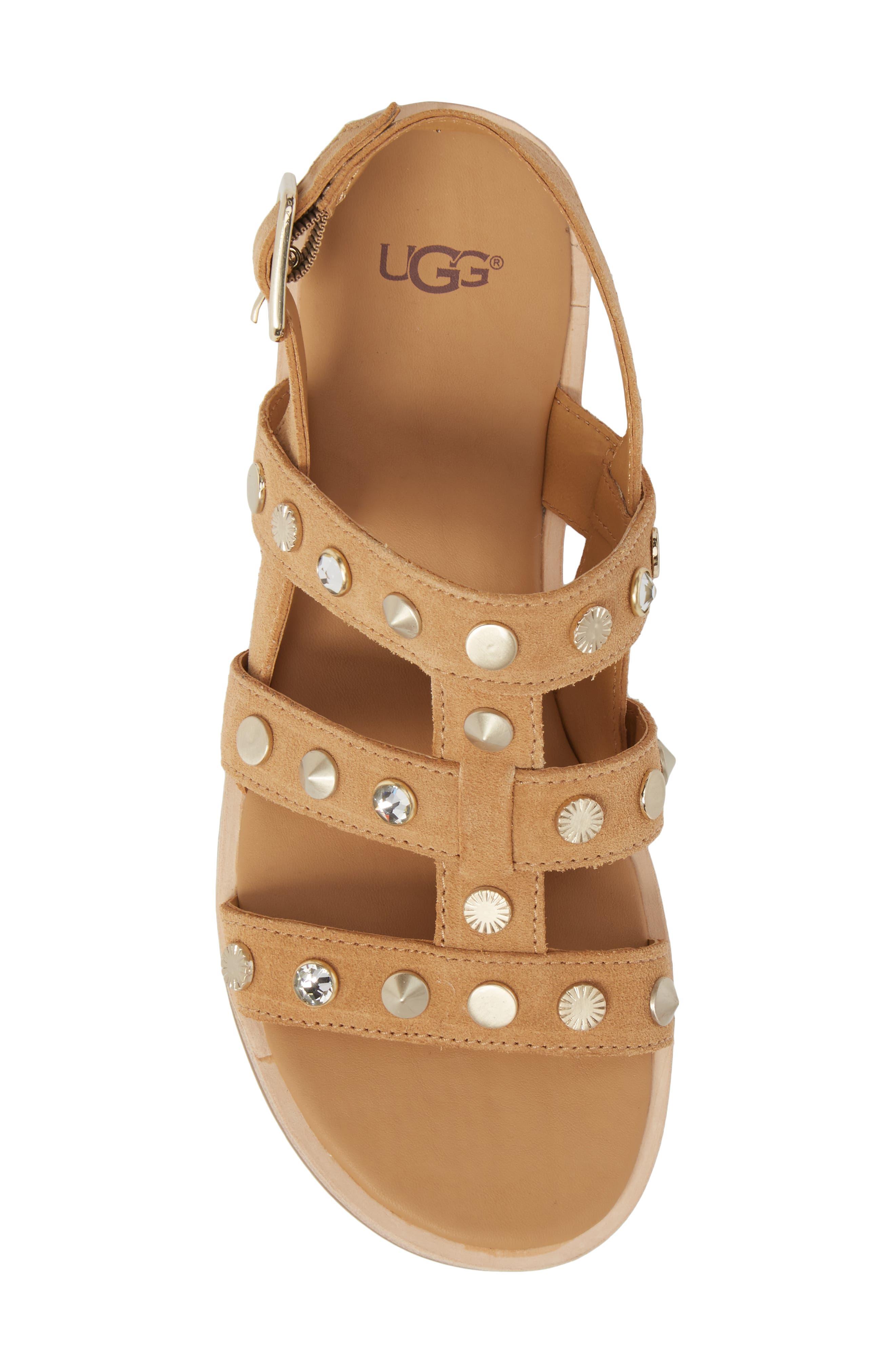 Zariah Studded Sandal,                             Alternate thumbnail 5, color,                             Latte Suede