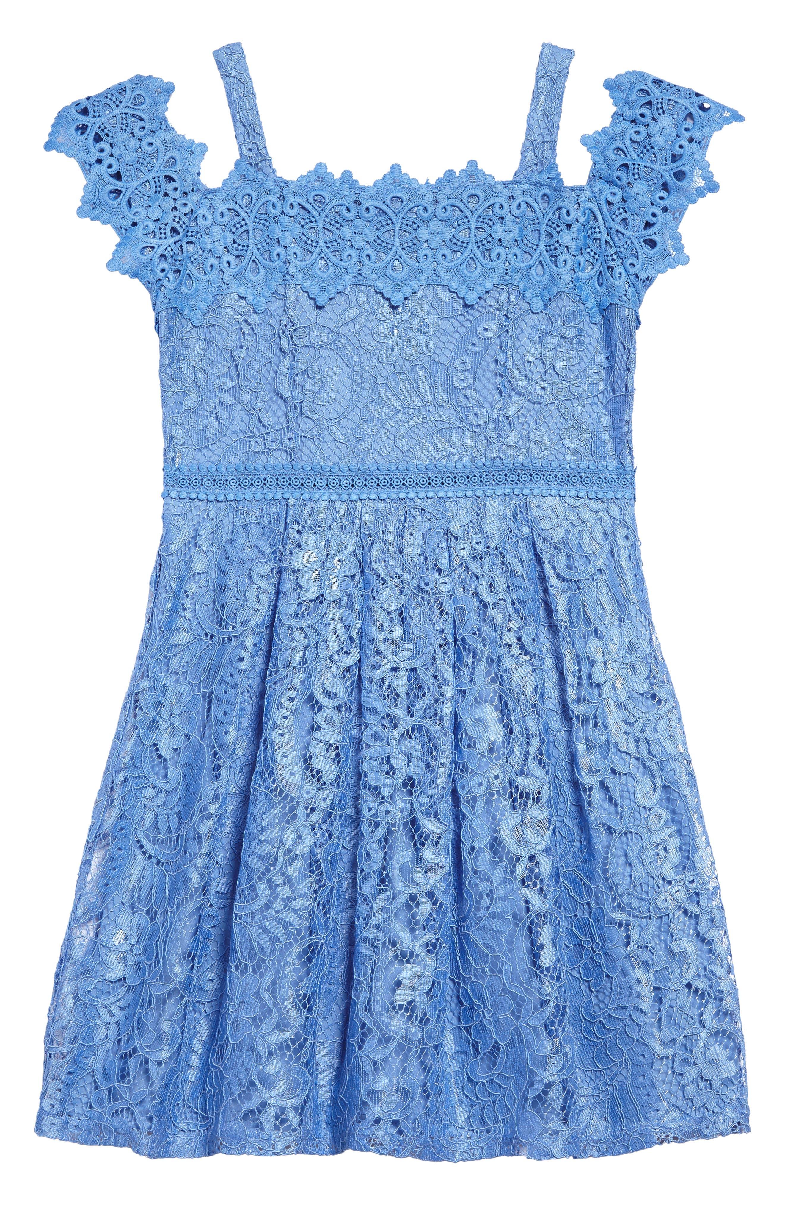 Lace Cold Shoulder Dress,                             Main thumbnail 1, color,                             Cornflower