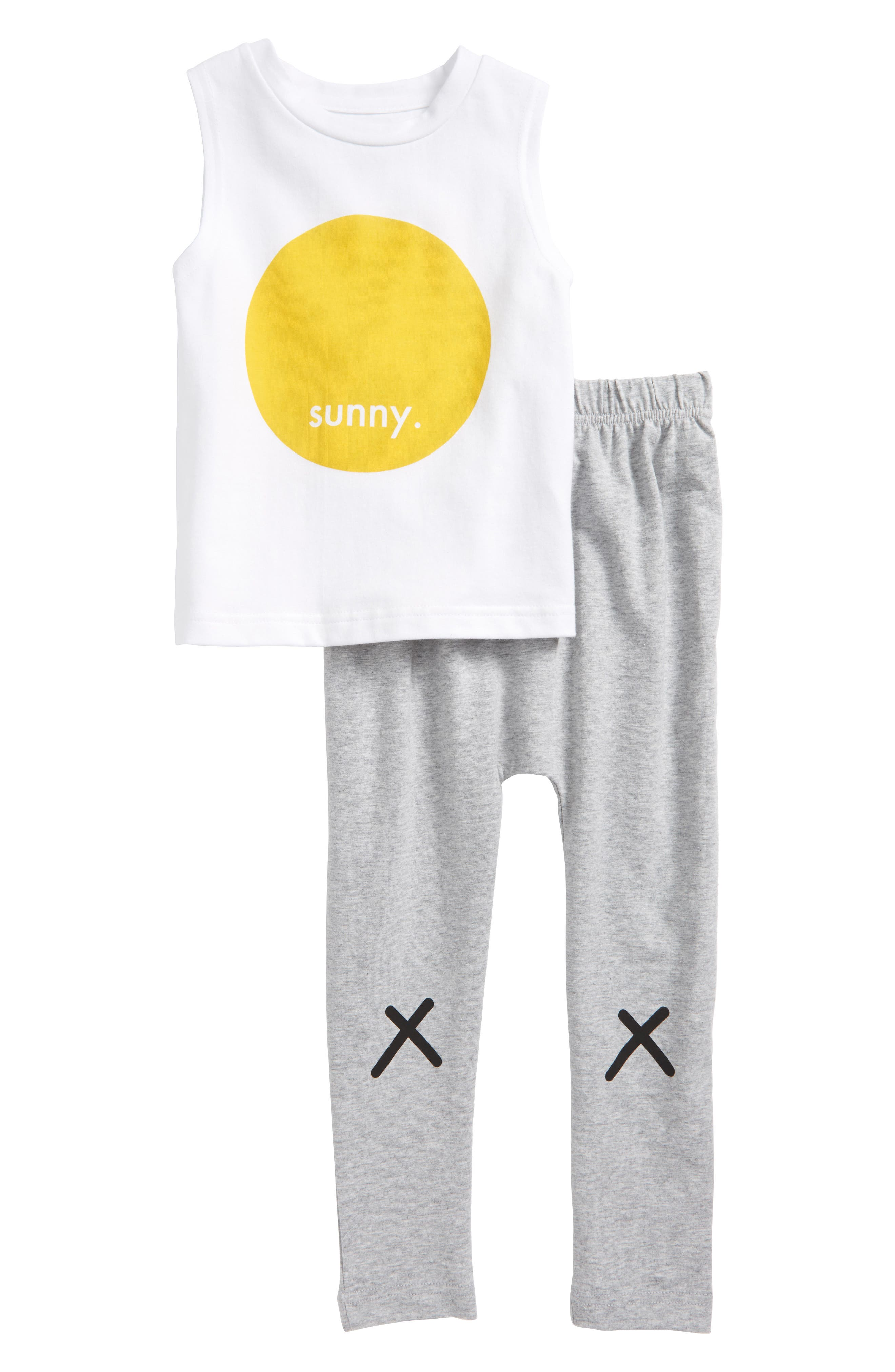 Tiny Tribe Sunny Tank & Sweatpants Set (Toddler Girls & Little Girls)