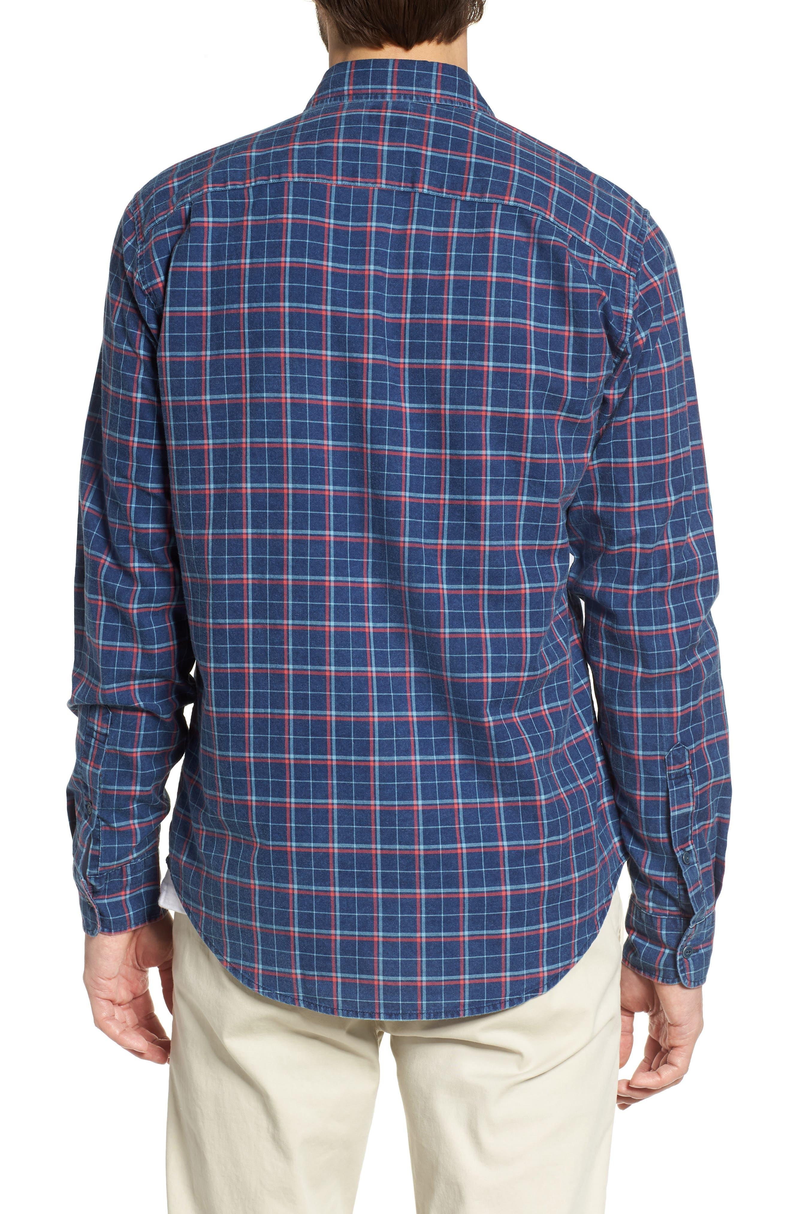 Ventura Plaid Sport Shirt,                             Alternate thumbnail 2, color,                             Dark Indigo Multi