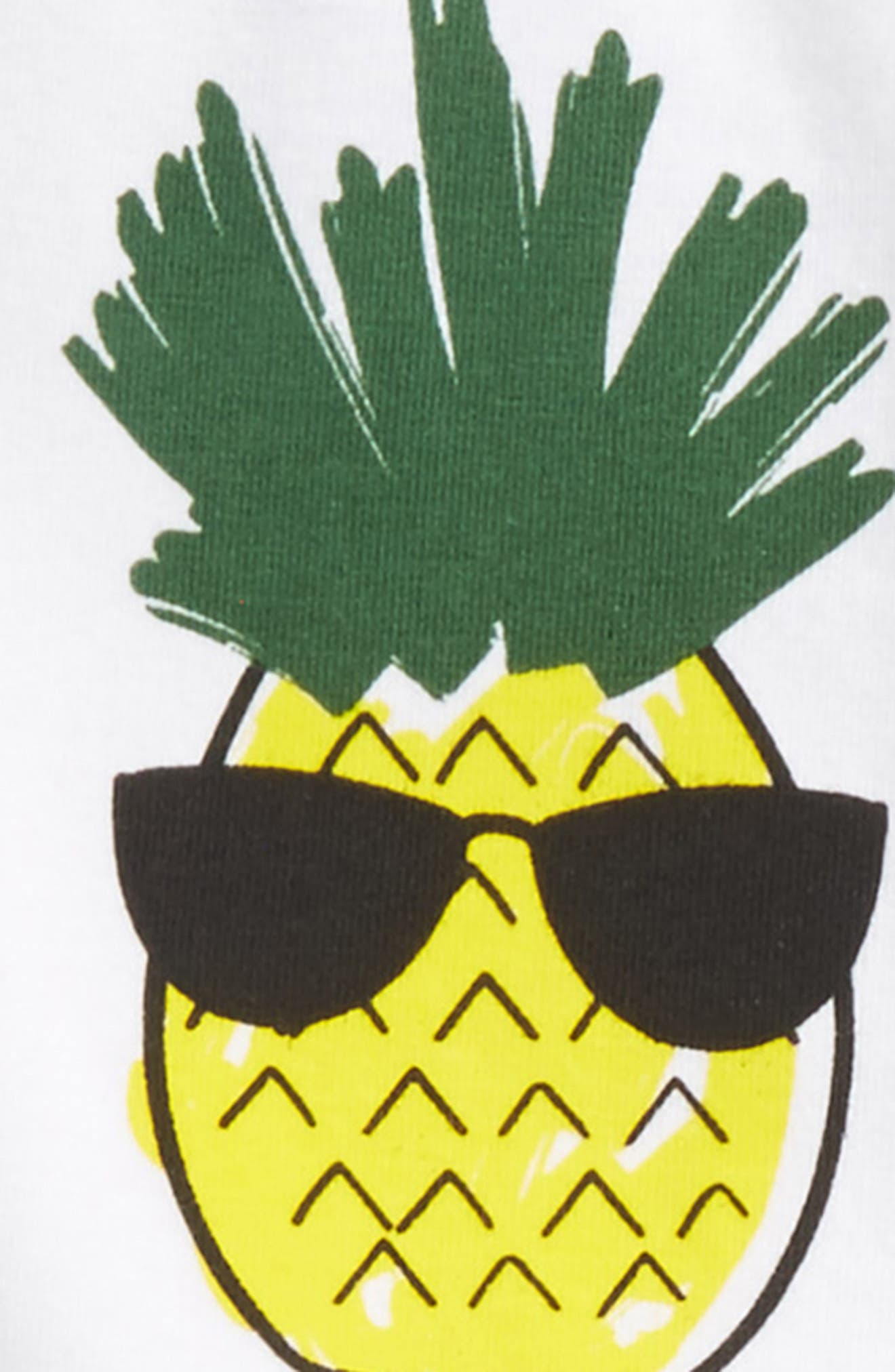 Cool Pineapple T-Shirt & Pants Set,                             Alternate thumbnail 2, color,                             White/ Grey