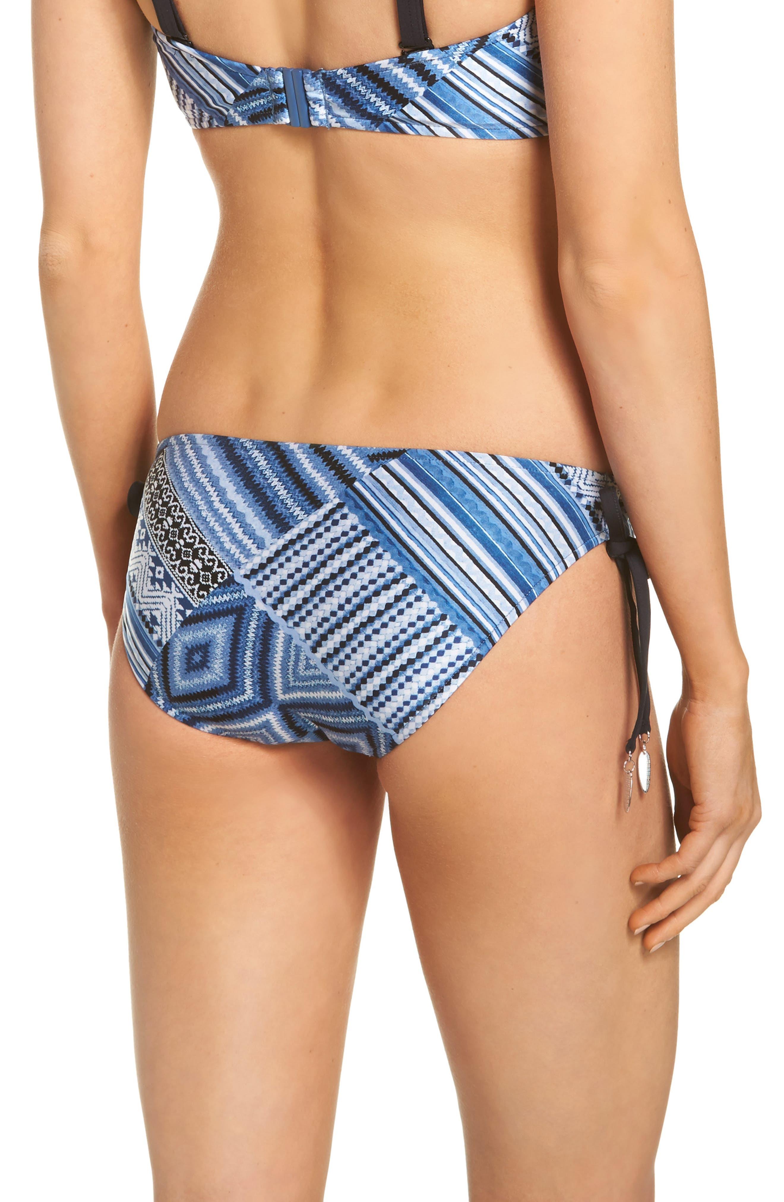 Desert Tribe Side Tie Hipster Bikini Bottoms,                             Alternate thumbnail 2, color,                             Bluestone