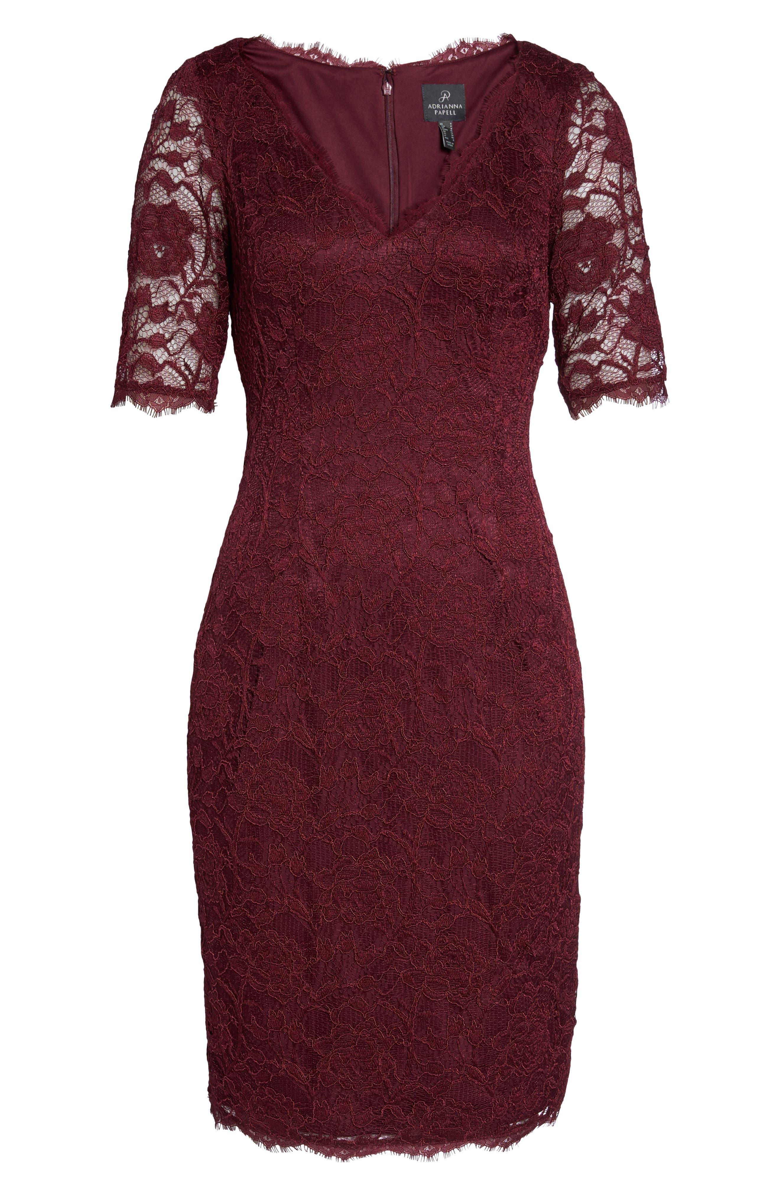 Rose Lace Sheath Dress,                             Alternate thumbnail 6, color,                             Cabernet