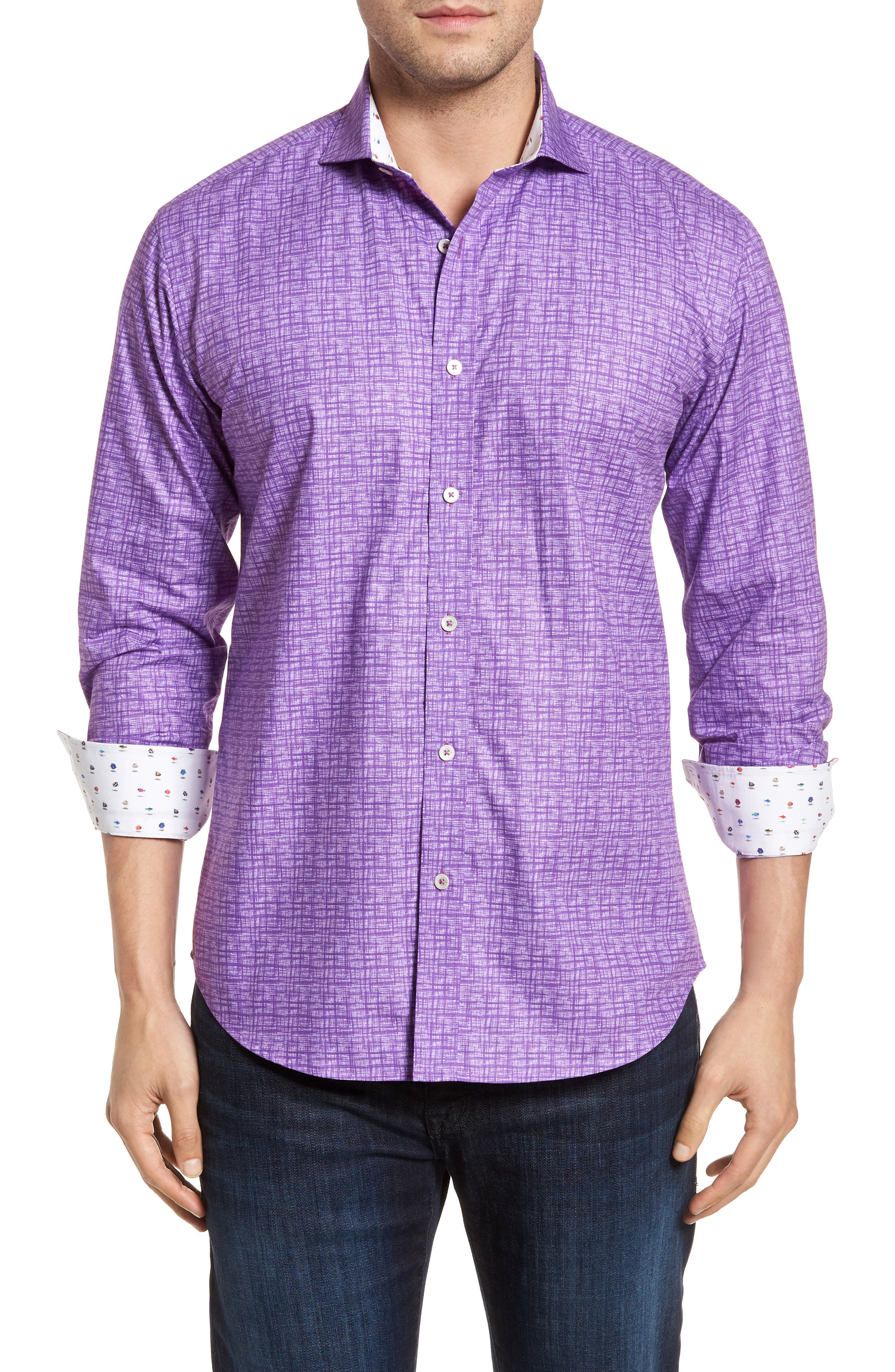Freehand Shaped Fit Sport Shirt,                         Main,                         color, Orchid