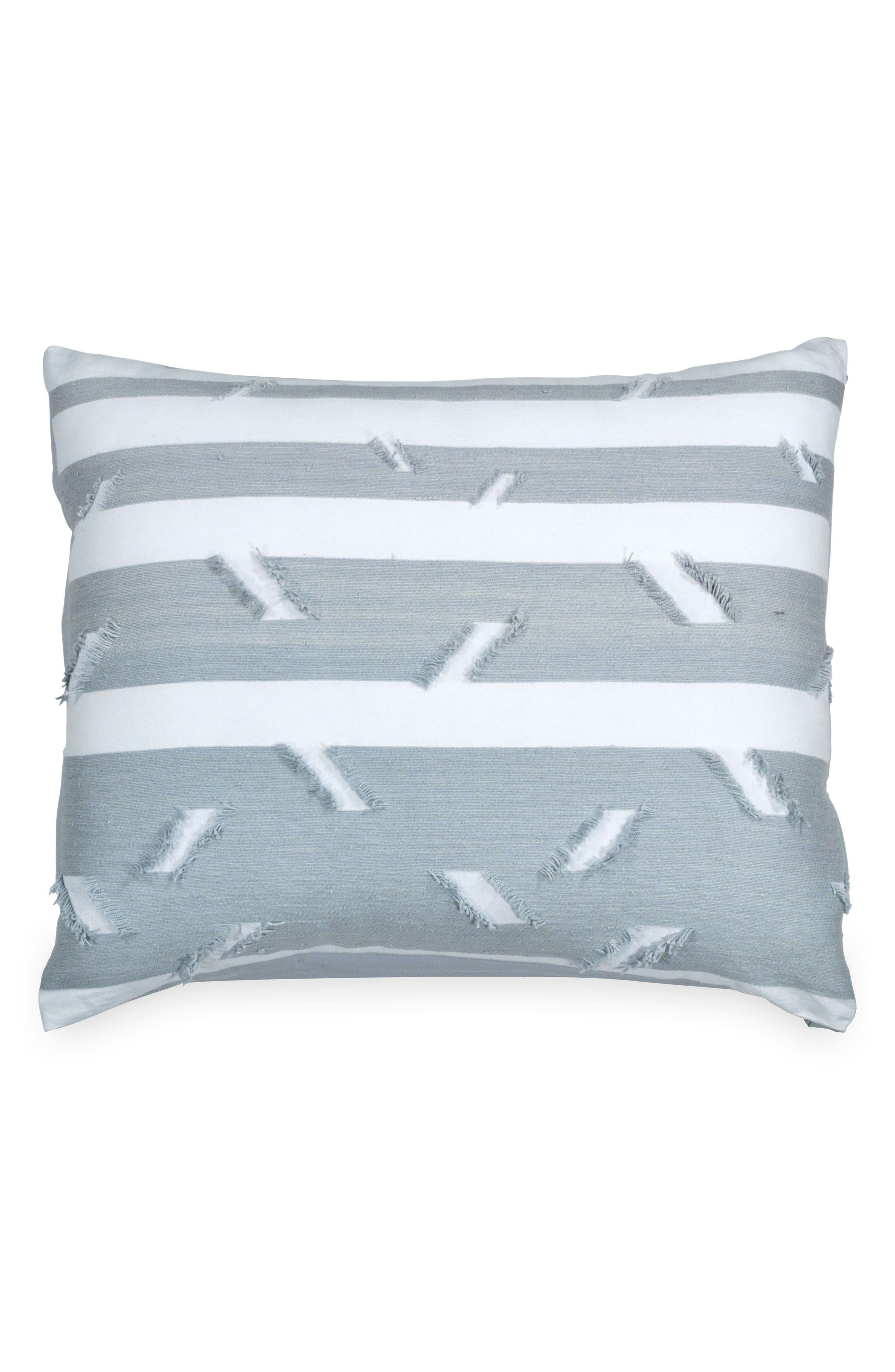 Stripe Fringe Sham,                         Main,                         color, Blue
