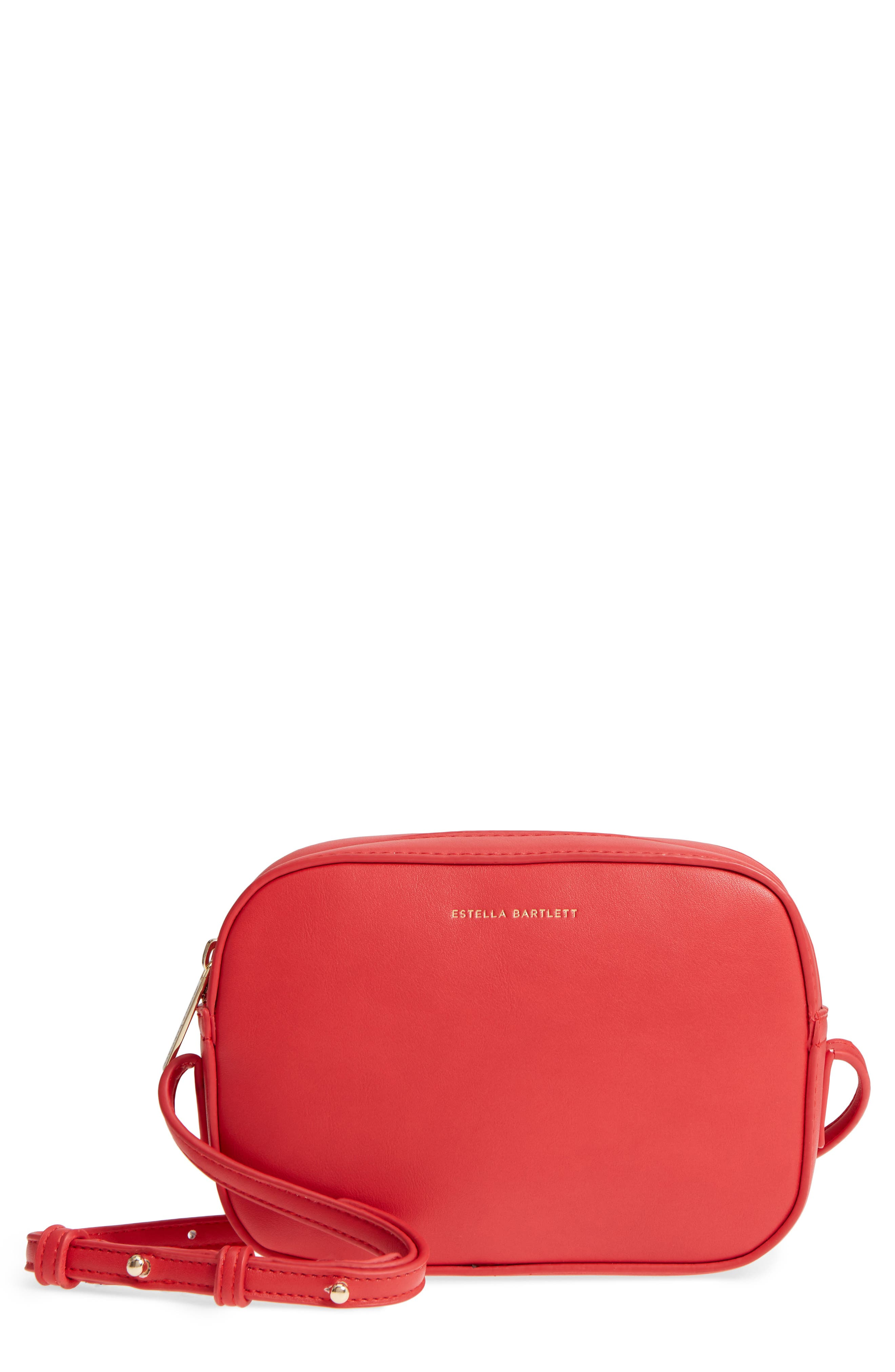 Faux Leather Box Bag,                             Main thumbnail 1, color,                             Red