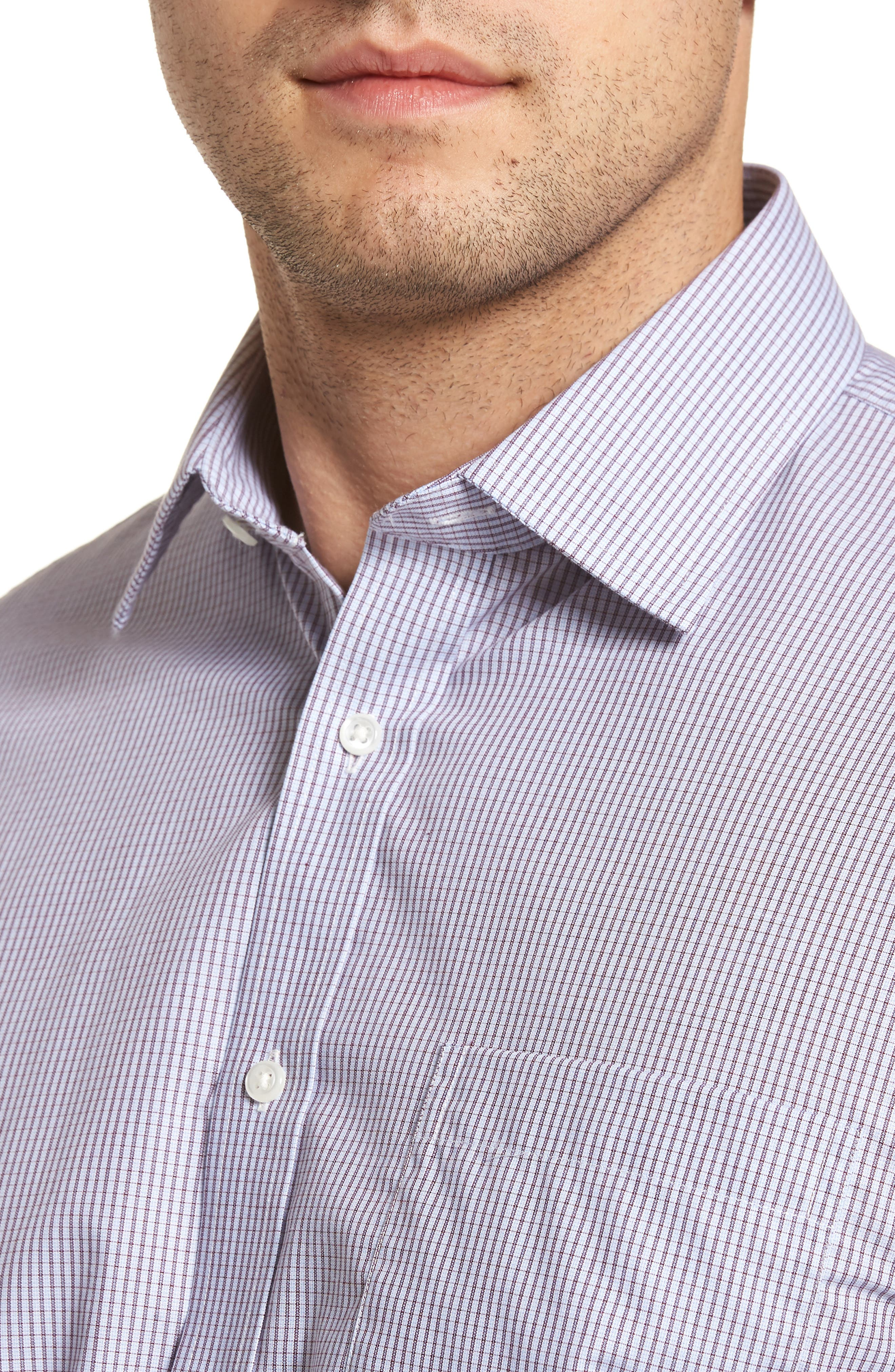 Traditional Fit Non-Iron Check Dress Shirt,                             Alternate thumbnail 2, color,                             Burgundy Royale