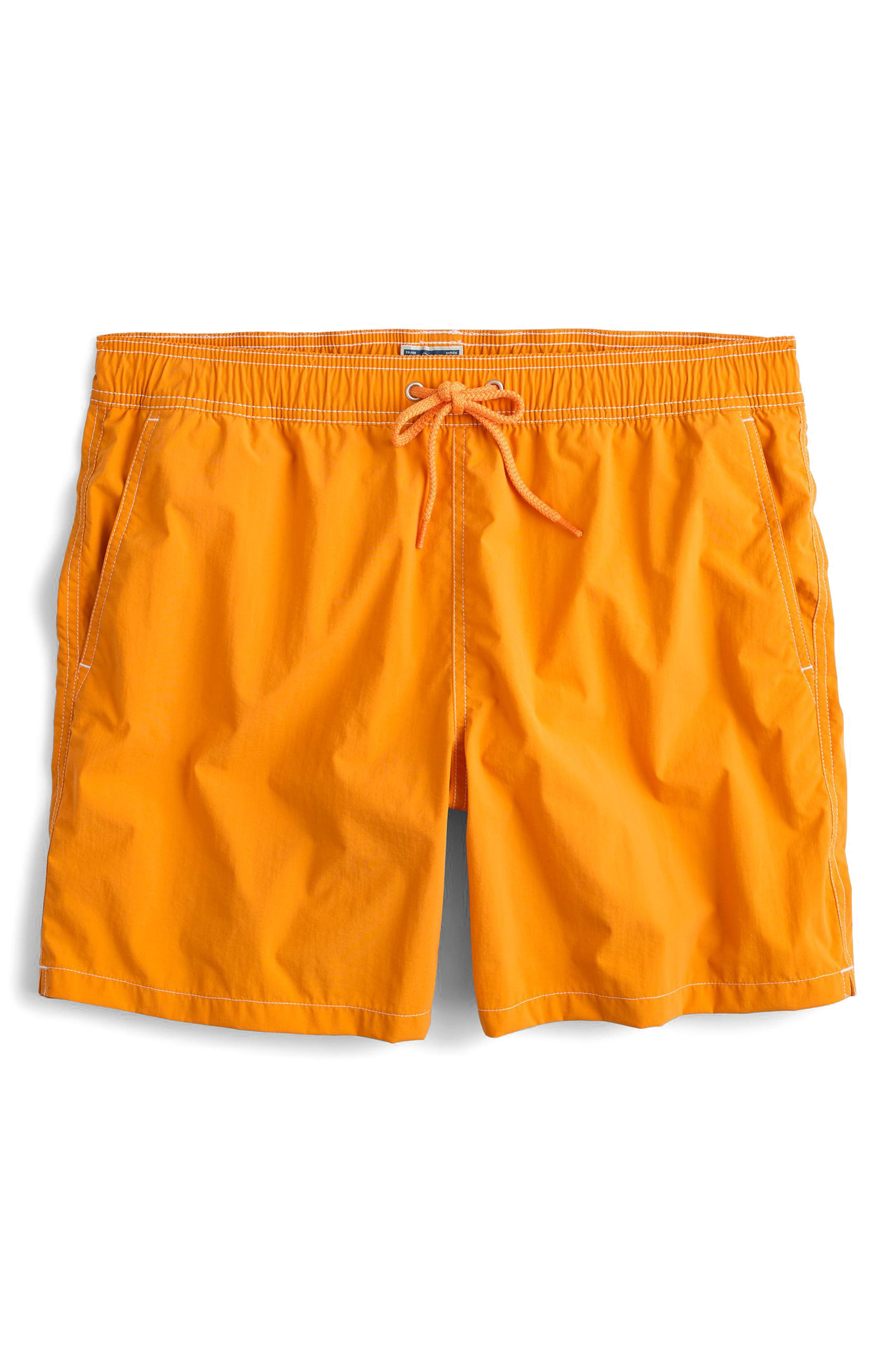 J.Crew Solid Swim Trunks,                         Main,                         color, Golden Sunset