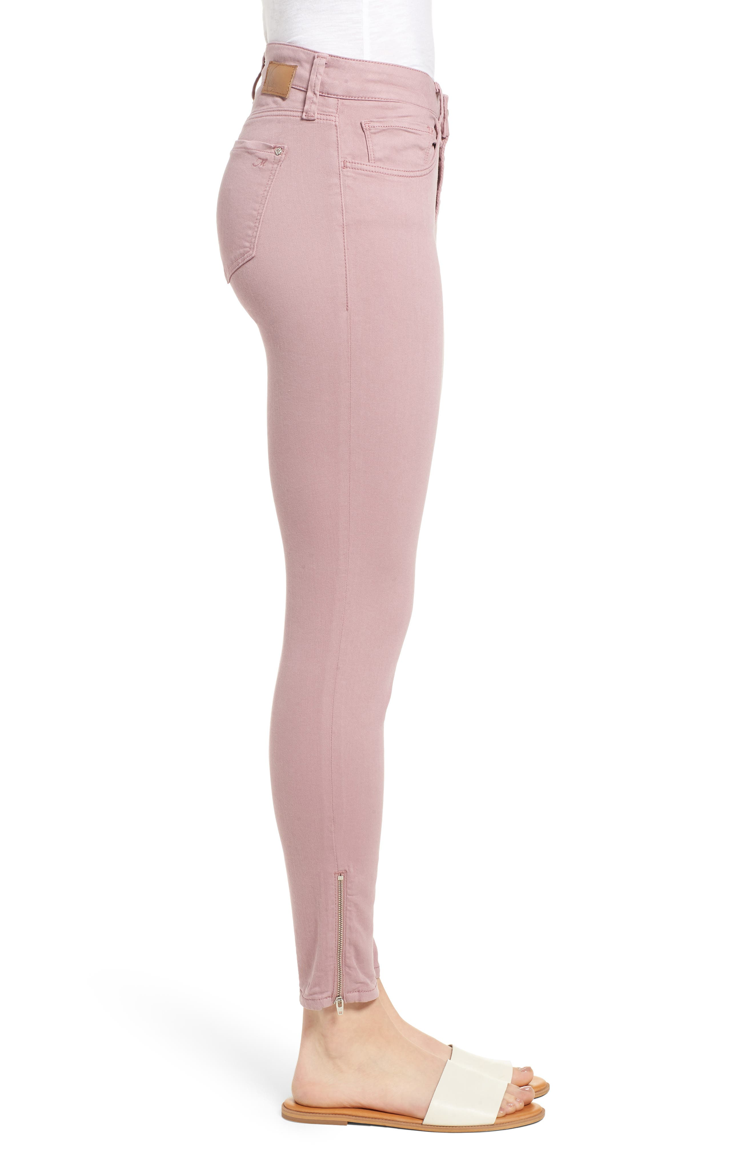 Adriana Zip Ankle Super Skinny Jeans,                             Alternate thumbnail 3, color,                             Zip Light Rose Twill