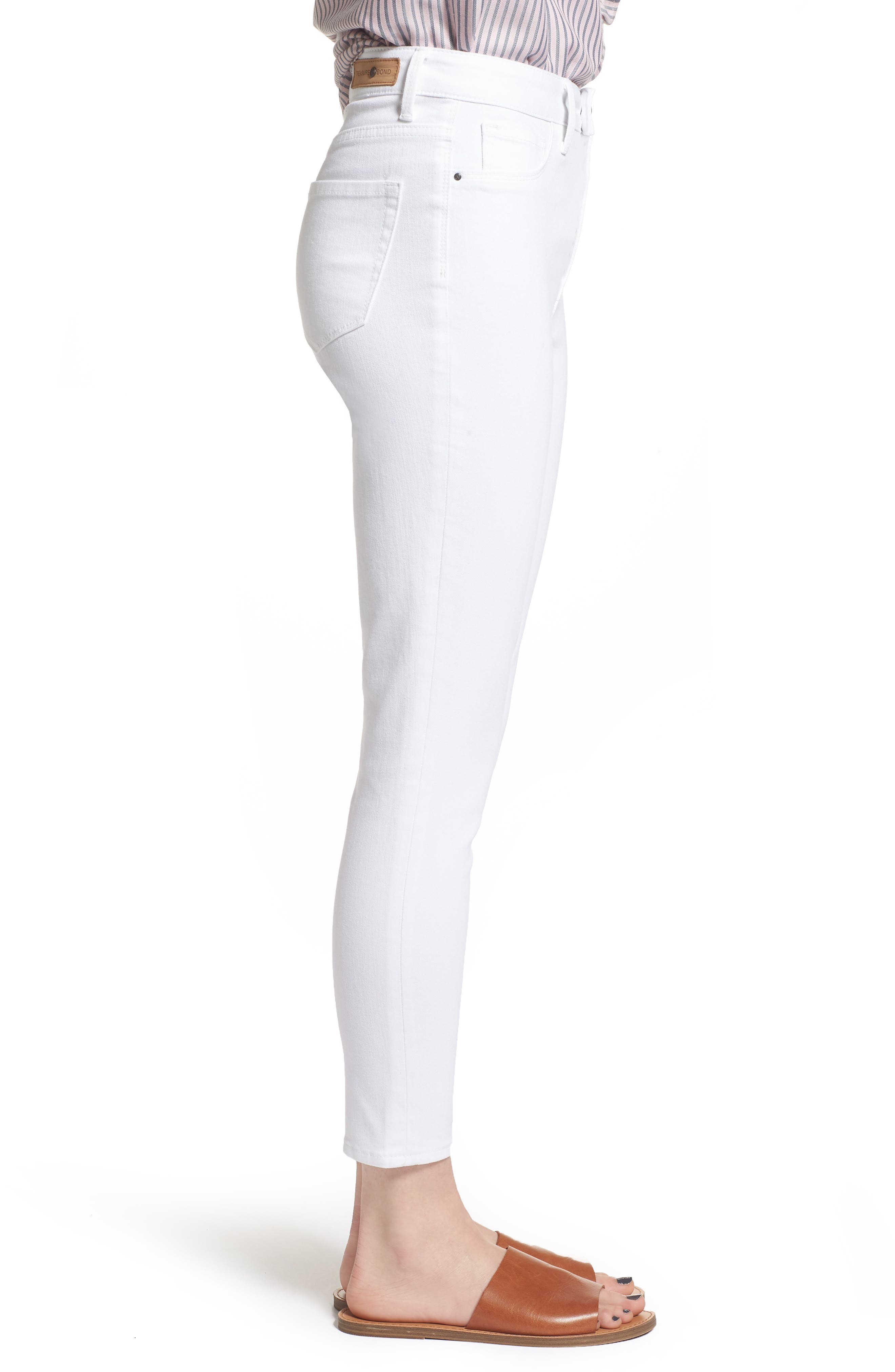 Charity High Waist Crop Skinny Jeans,                             Alternate thumbnail 3, color,                             White