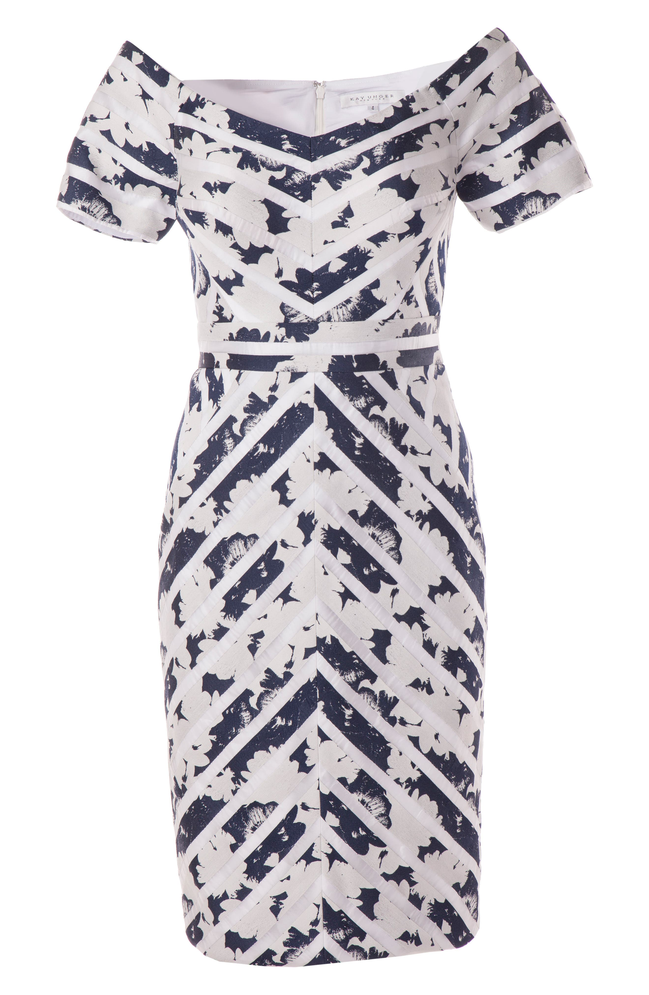 Off the Shoulder Jacquard Sheath Dress,                             Alternate thumbnail 3, color,                             Navy/ White