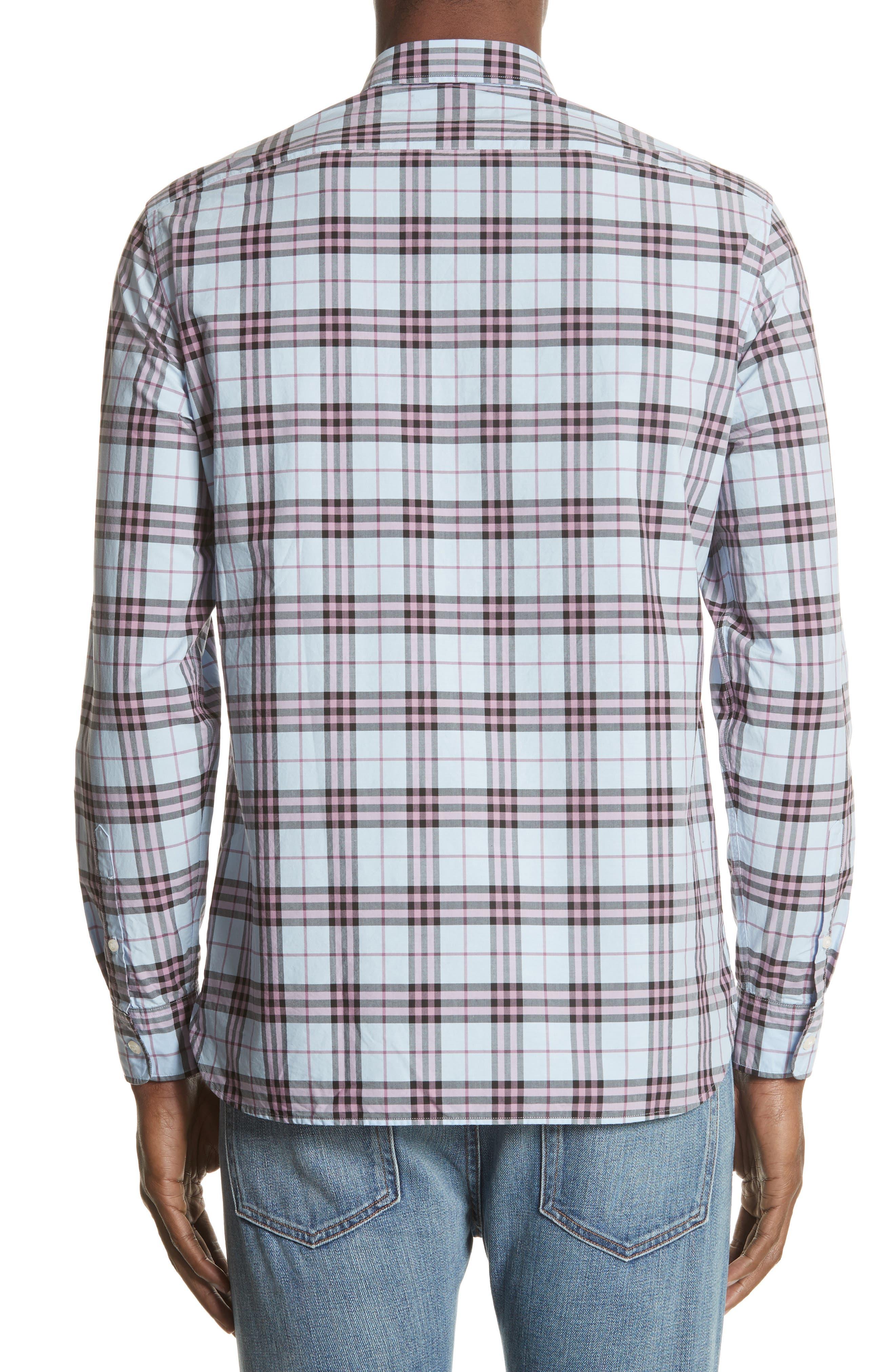 Alexander Standard Fit Check Sport Shirt,                             Alternate thumbnail 3, color,                             Lavender Blue