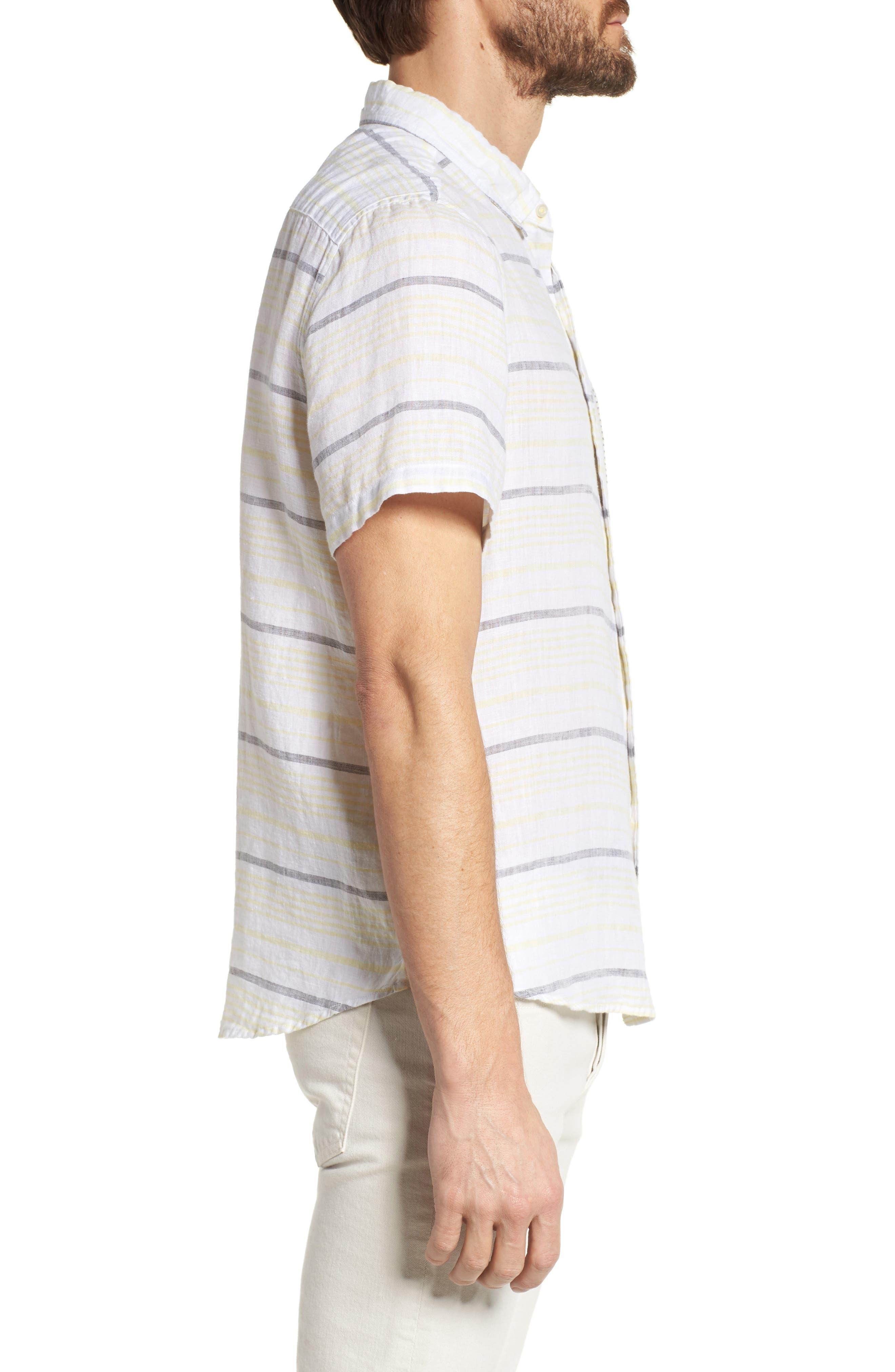 Stripe Linen Sport Shirt,                             Alternate thumbnail 3, color,                             Pale Lemon
