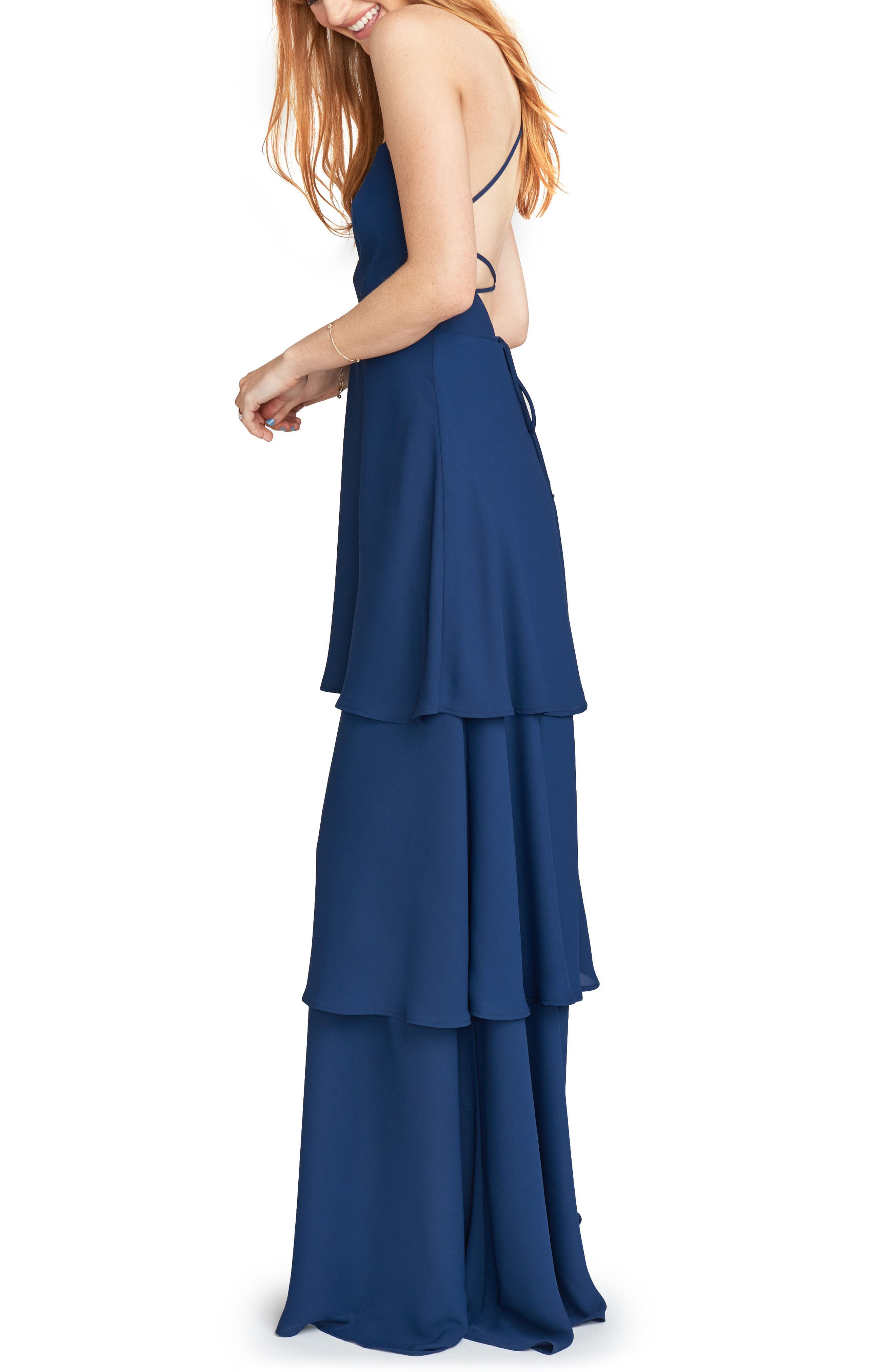 Calypso Strappy Tiered Maxi Dress,                             Alternate thumbnail 3, color,                             Rich Navy