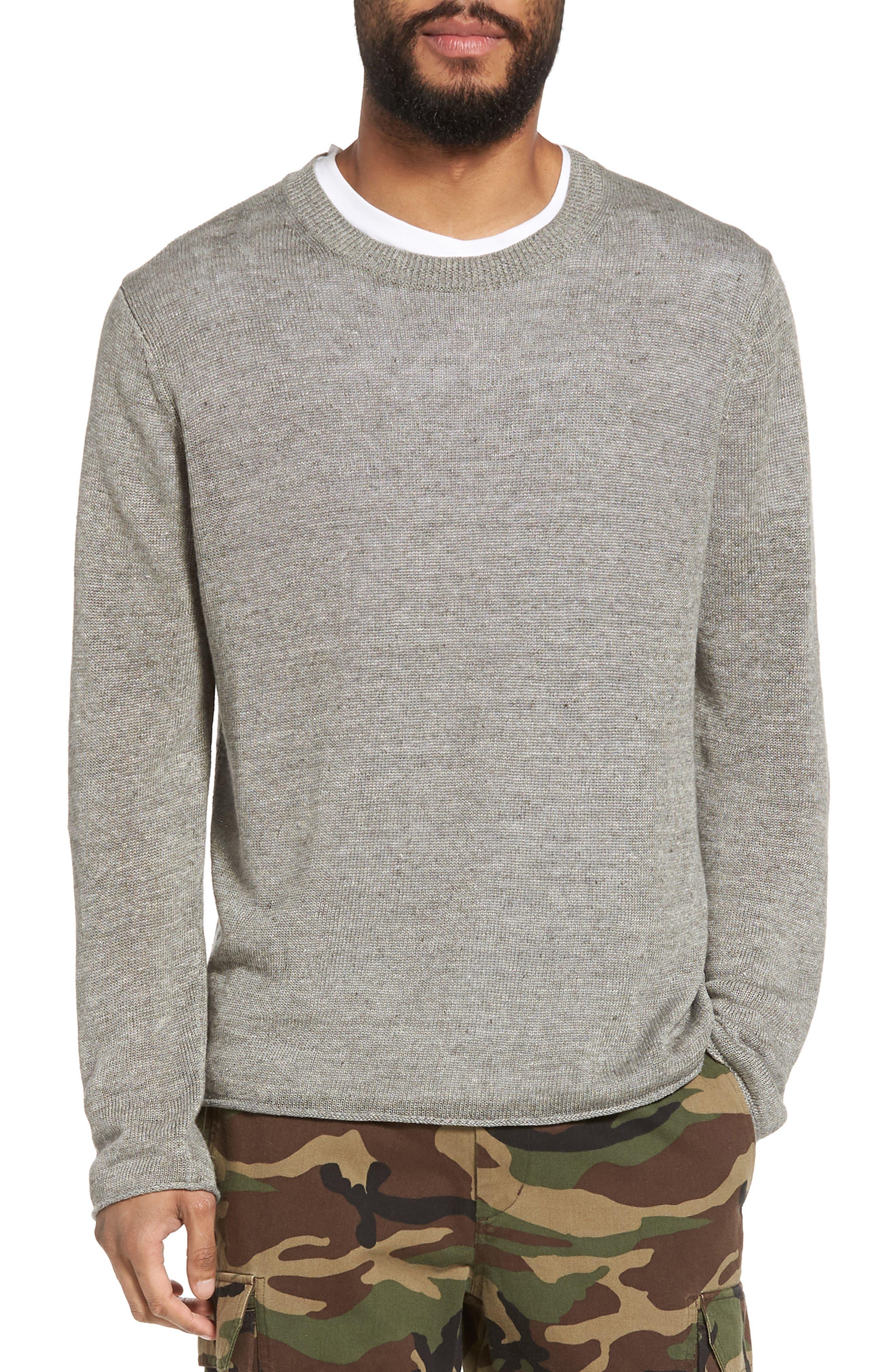 Slim Fit Linen Crewneck Sweater,                         Main,                         color, Silver