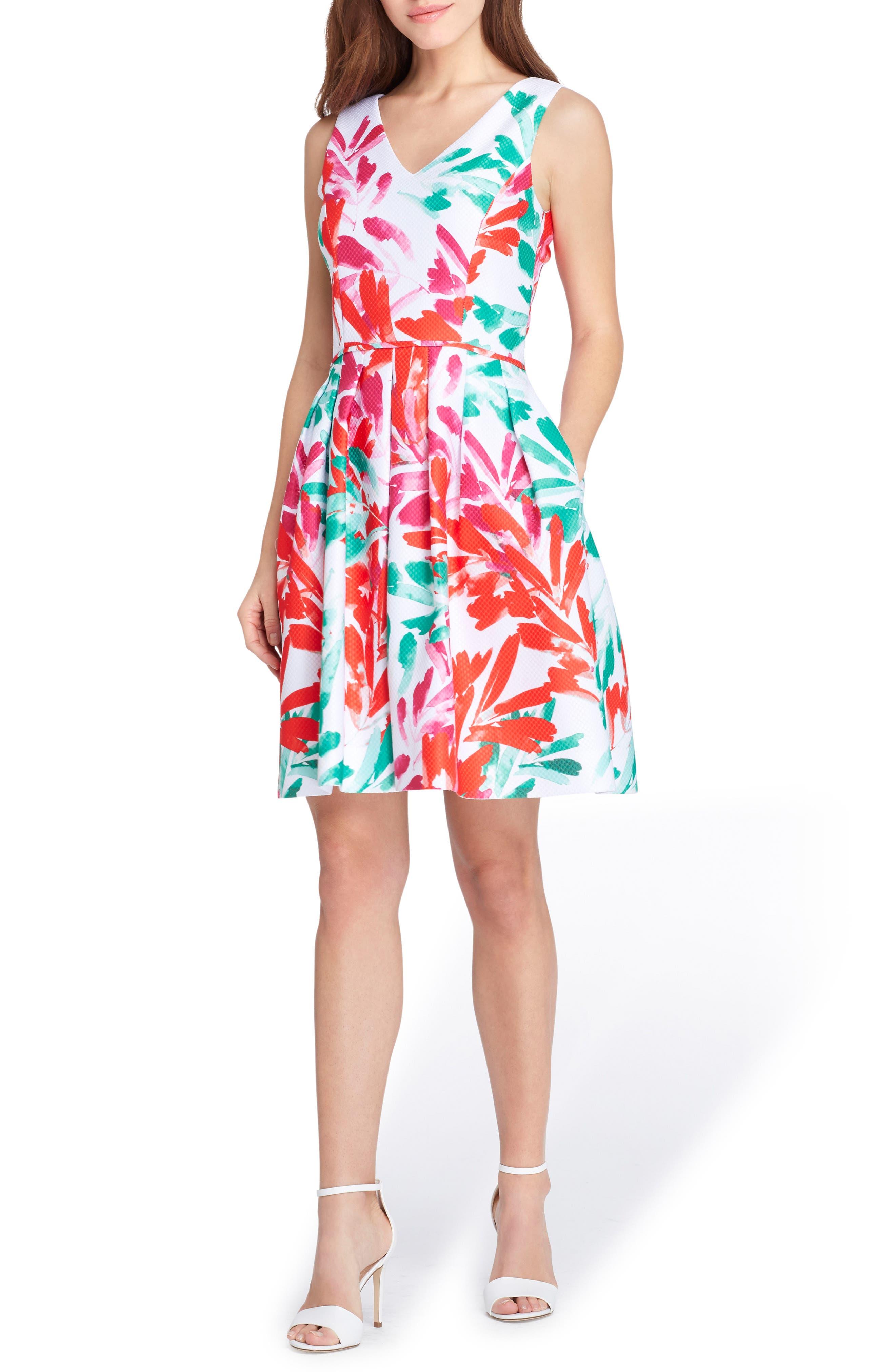 Print Jacquard Dress,                         Main,                         color, White/ Coral/ Sea Glass
