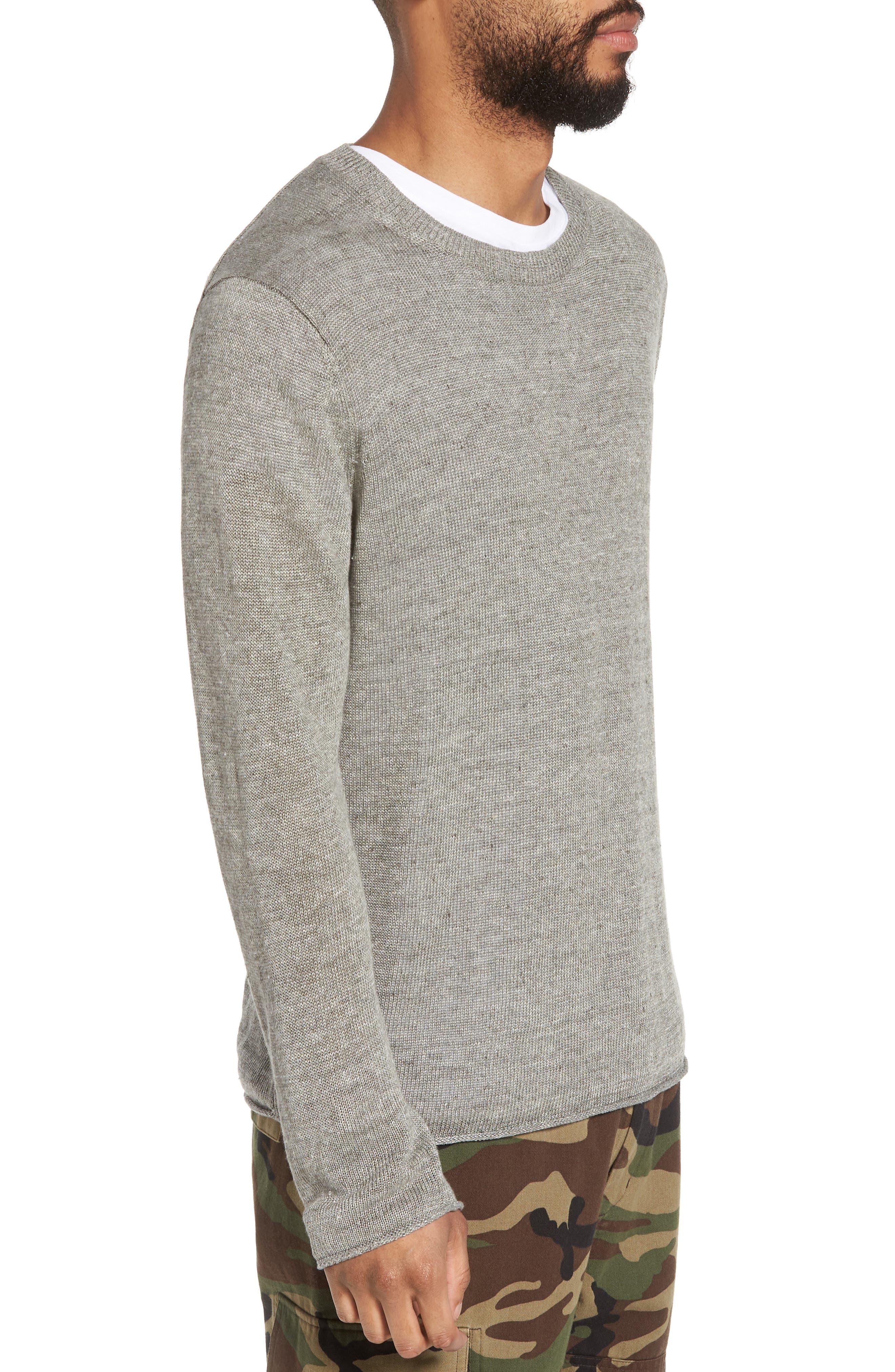 Slim Fit Linen Crewneck Sweater,                             Alternate thumbnail 3, color,                             Silver