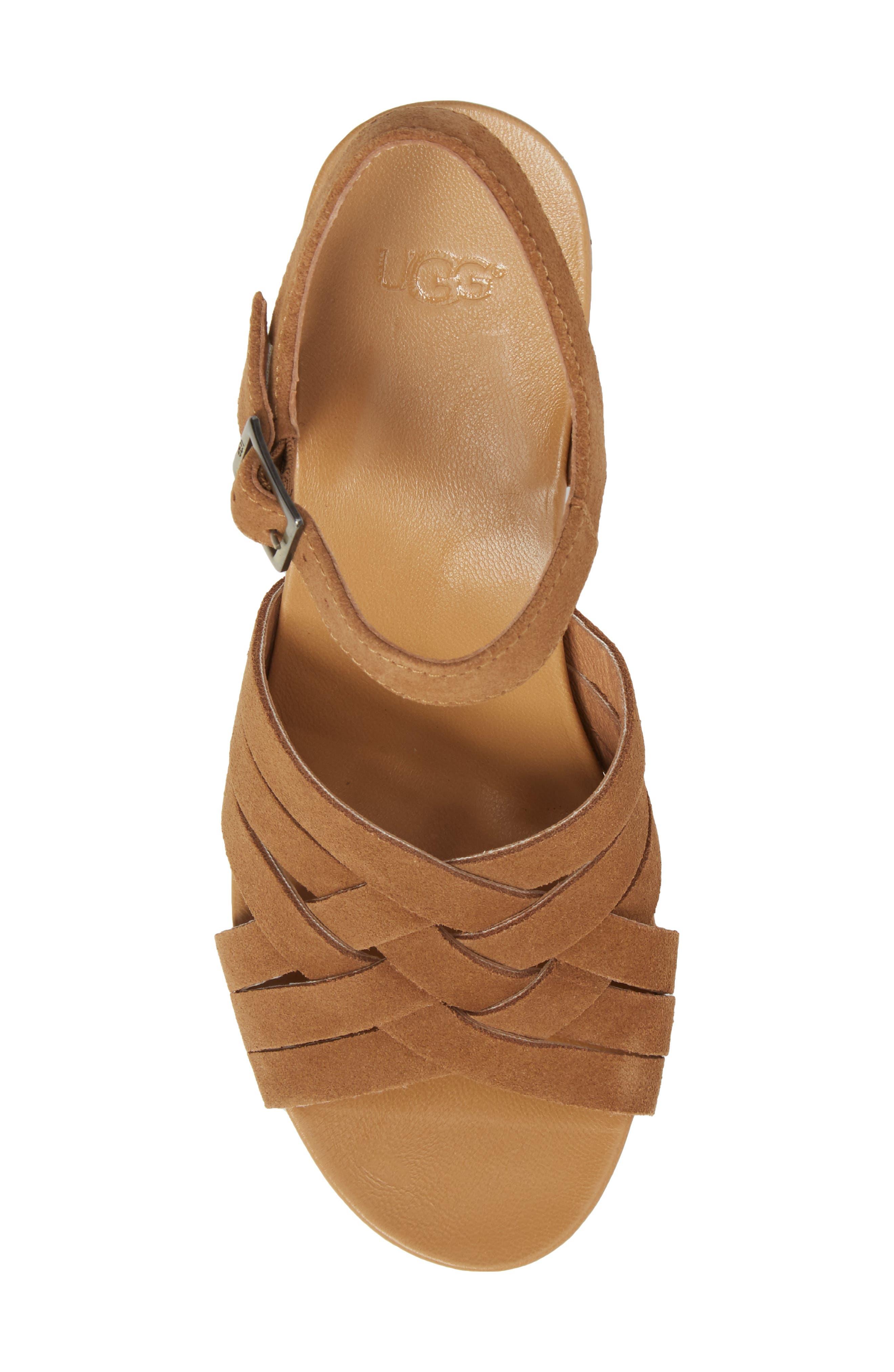 Uma Wedge Sandal,                             Alternate thumbnail 5, color,                             Chestnut Suede