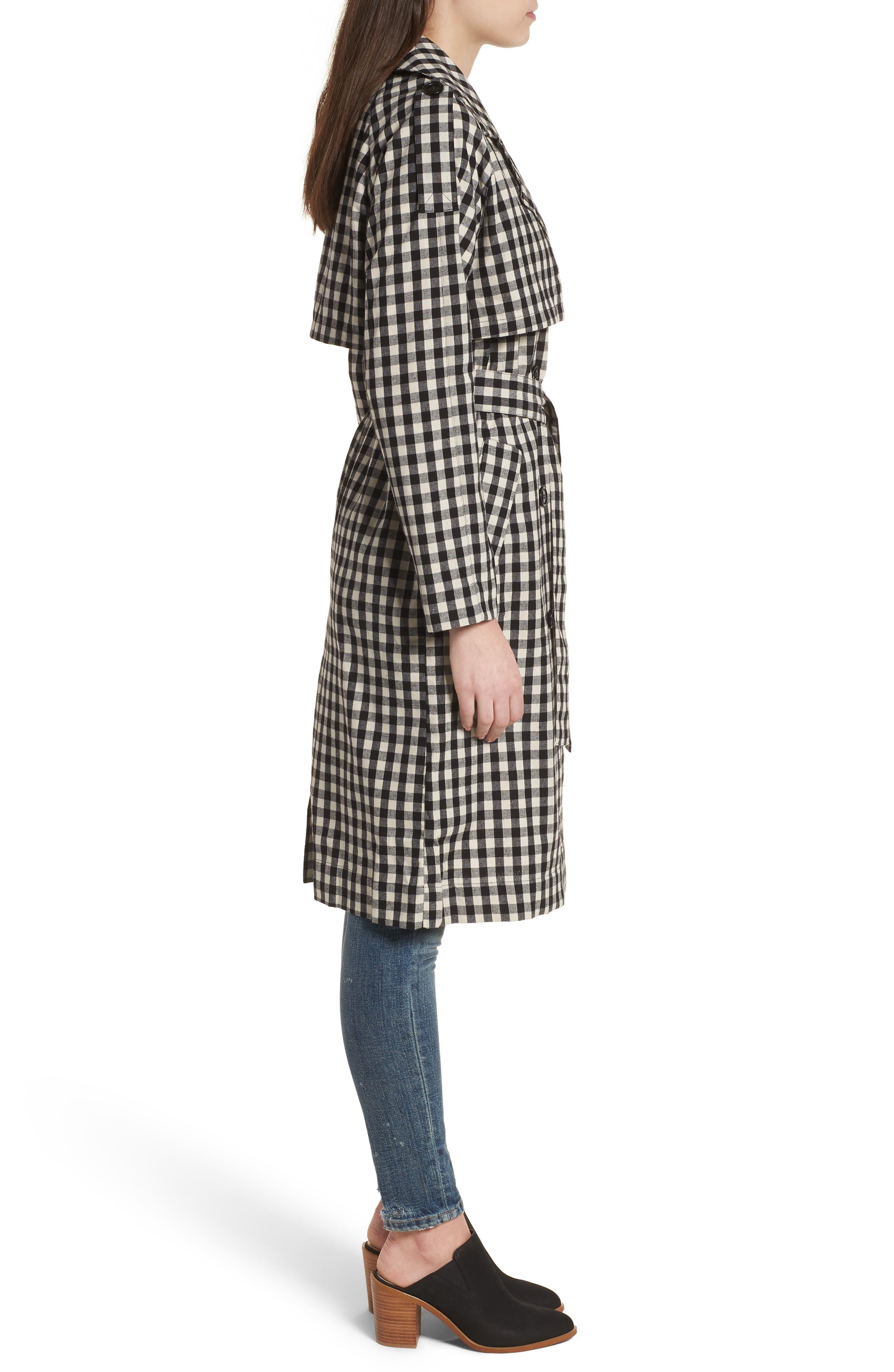 Gingham Trench Coat,                             Alternate thumbnail 4, color,                             Black/ White