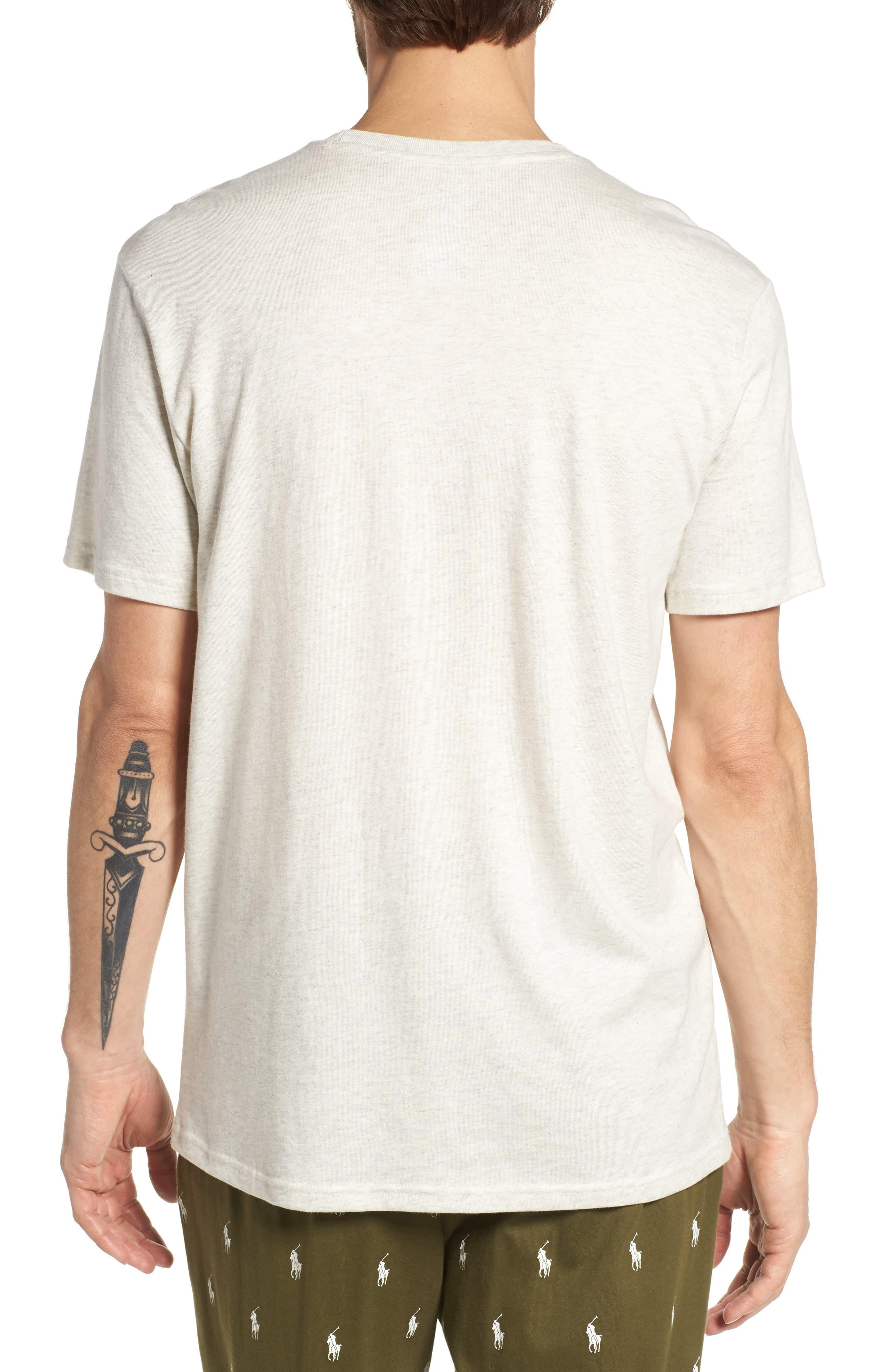 Supreme Comfort Crewneck T-Shirt,                             Alternate thumbnail 2, color,                             Sand Heather/ Bright Navy