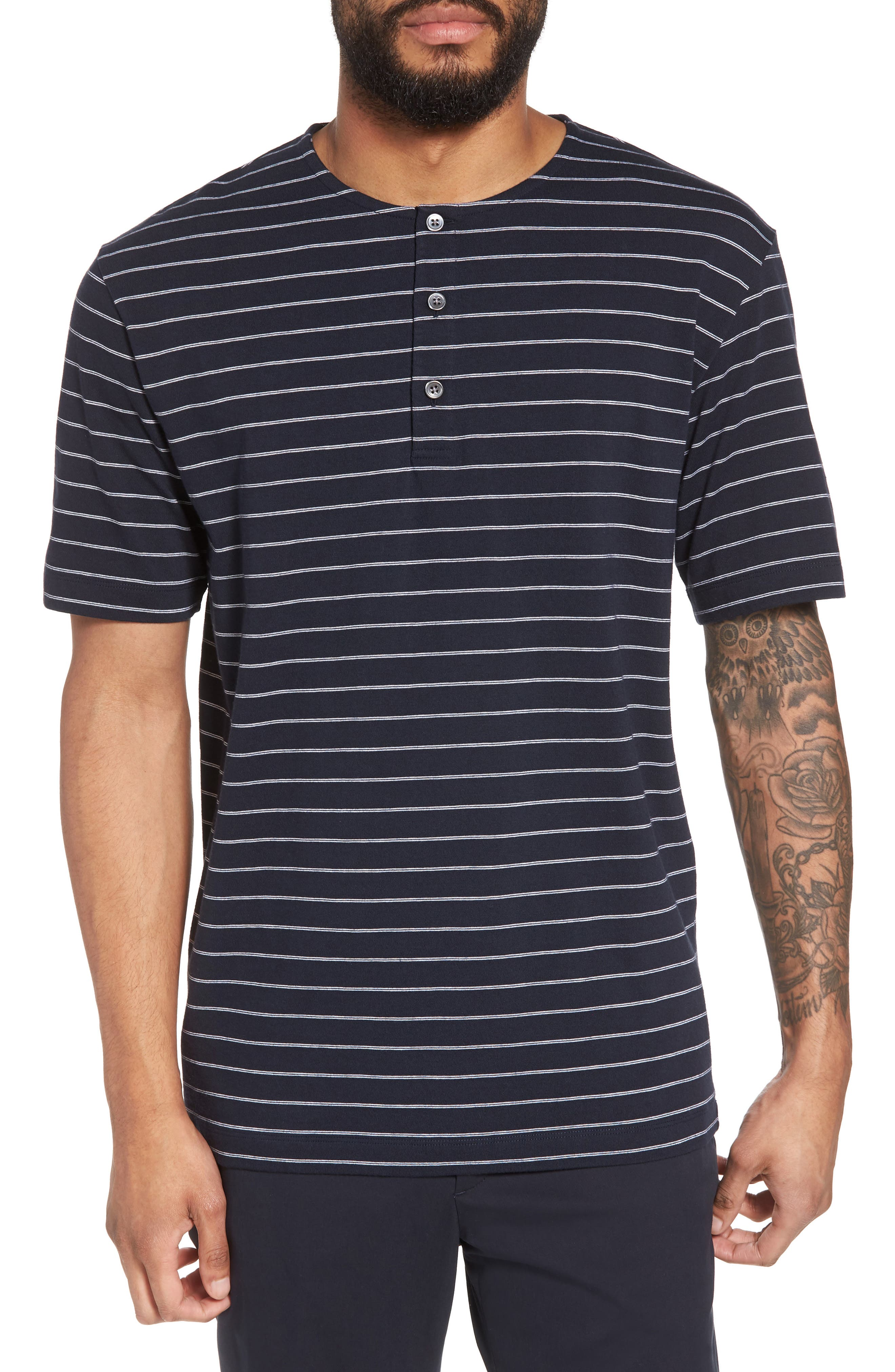 Relaxed Stripe Henley,                         Main,                         color, Eclipse Multi
