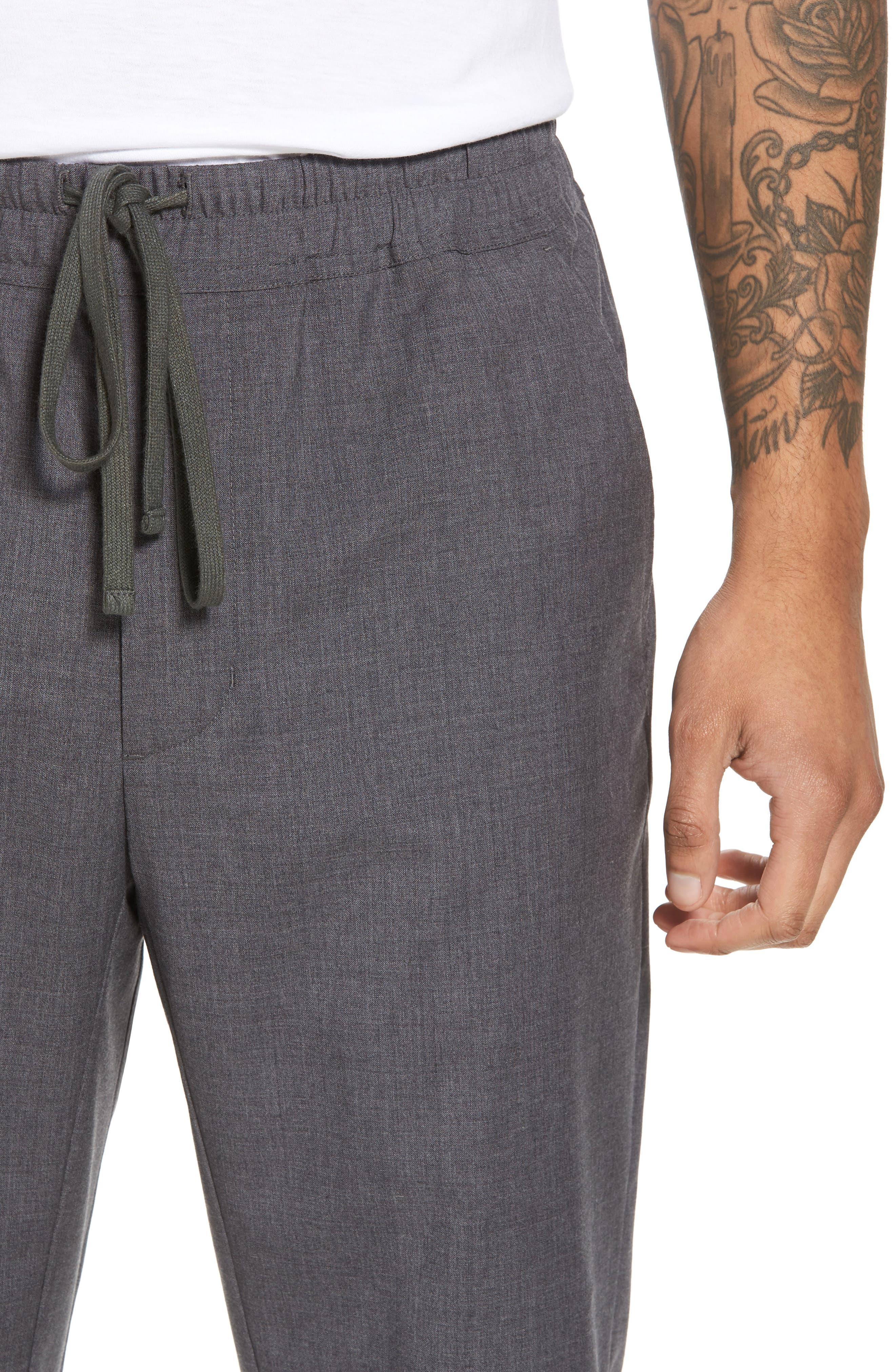 Slim Fit Wool Track Pants,                             Alternate thumbnail 4, color,                             Light Heather Grey