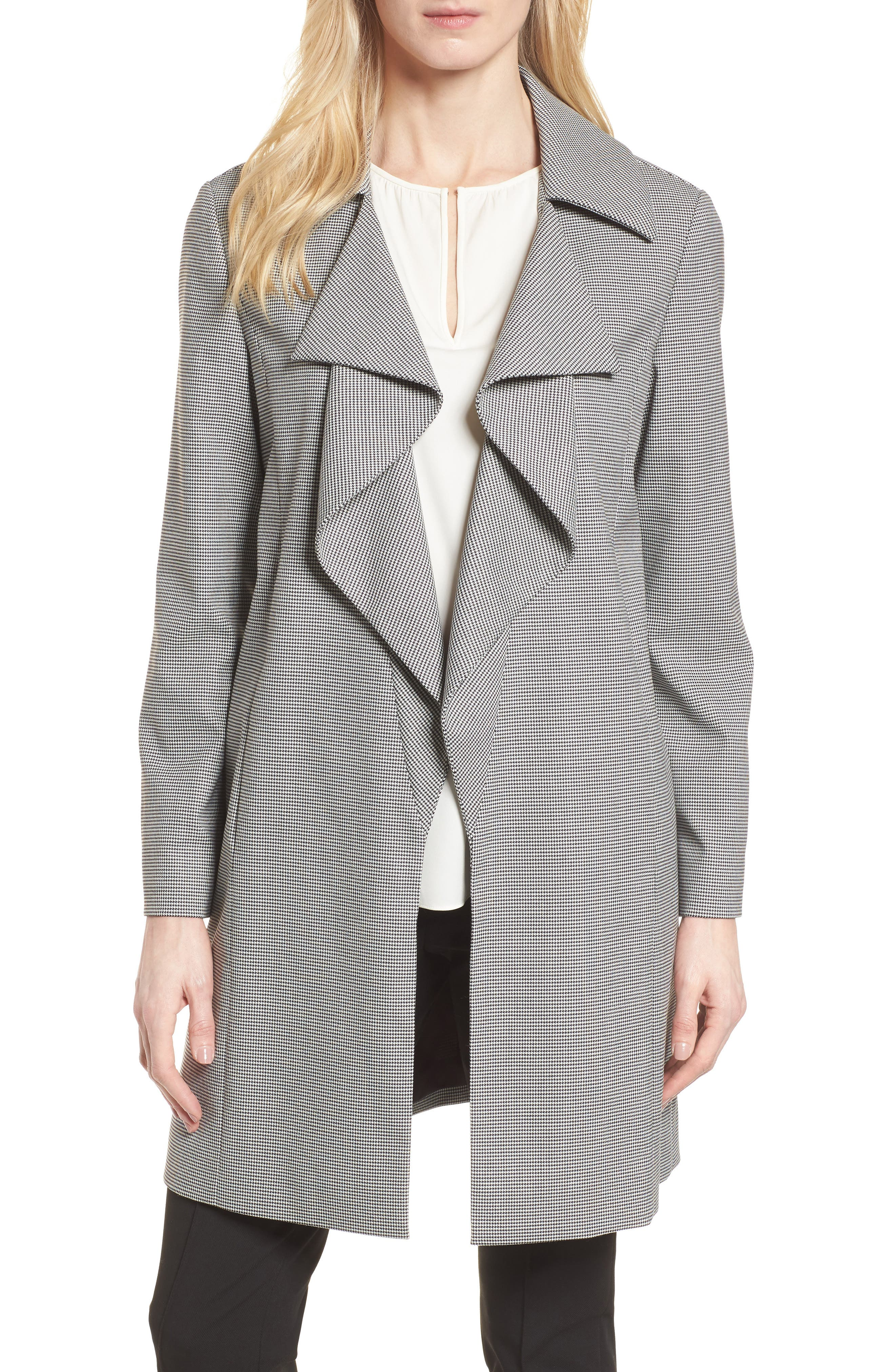 Houndstooth Open Front Jacket,                         Main,                         color, Black- White Houndstooth