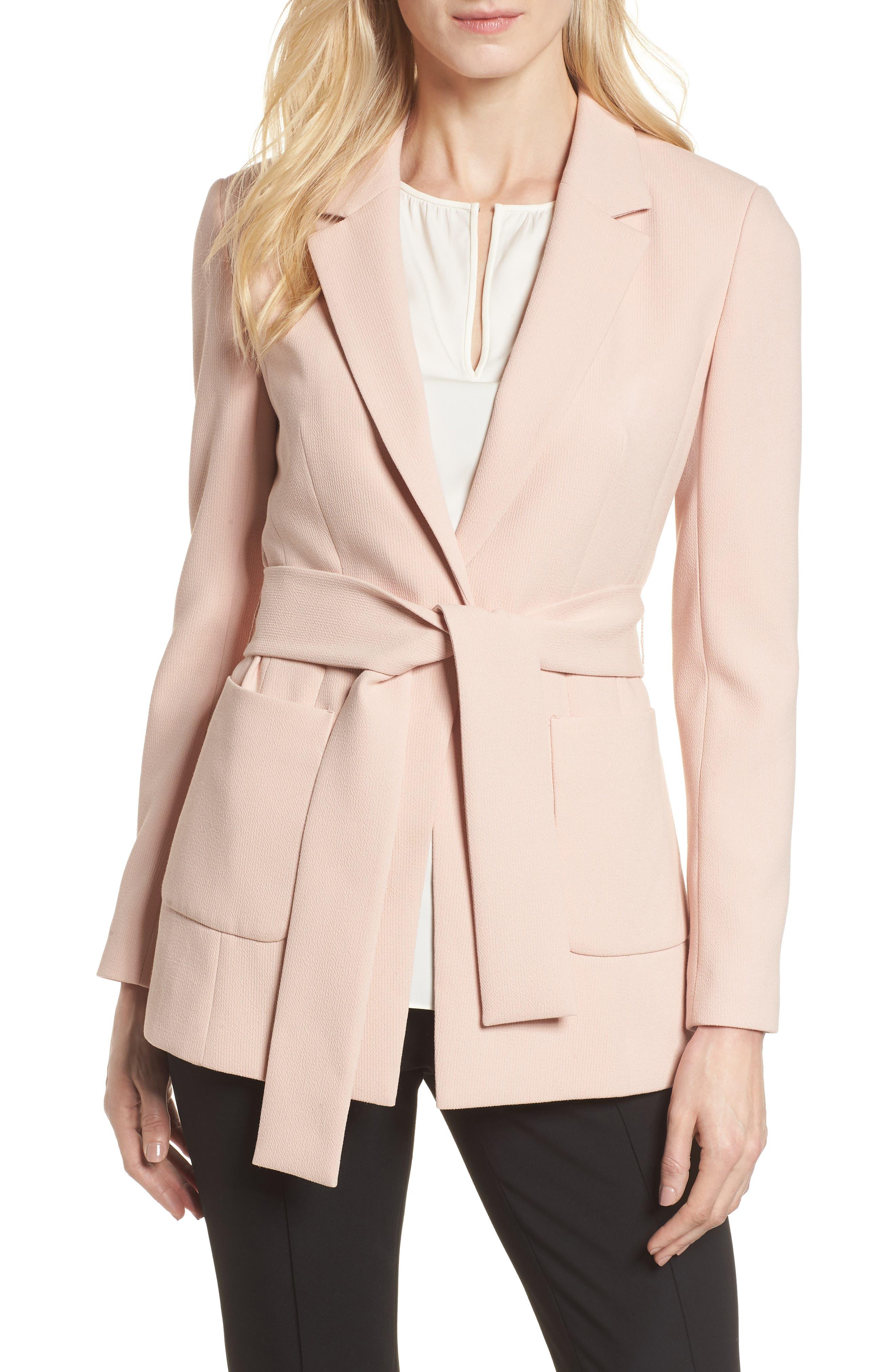 Tie Waist Suit Jacket,                             Main thumbnail 1, color,                             Pink Smoke