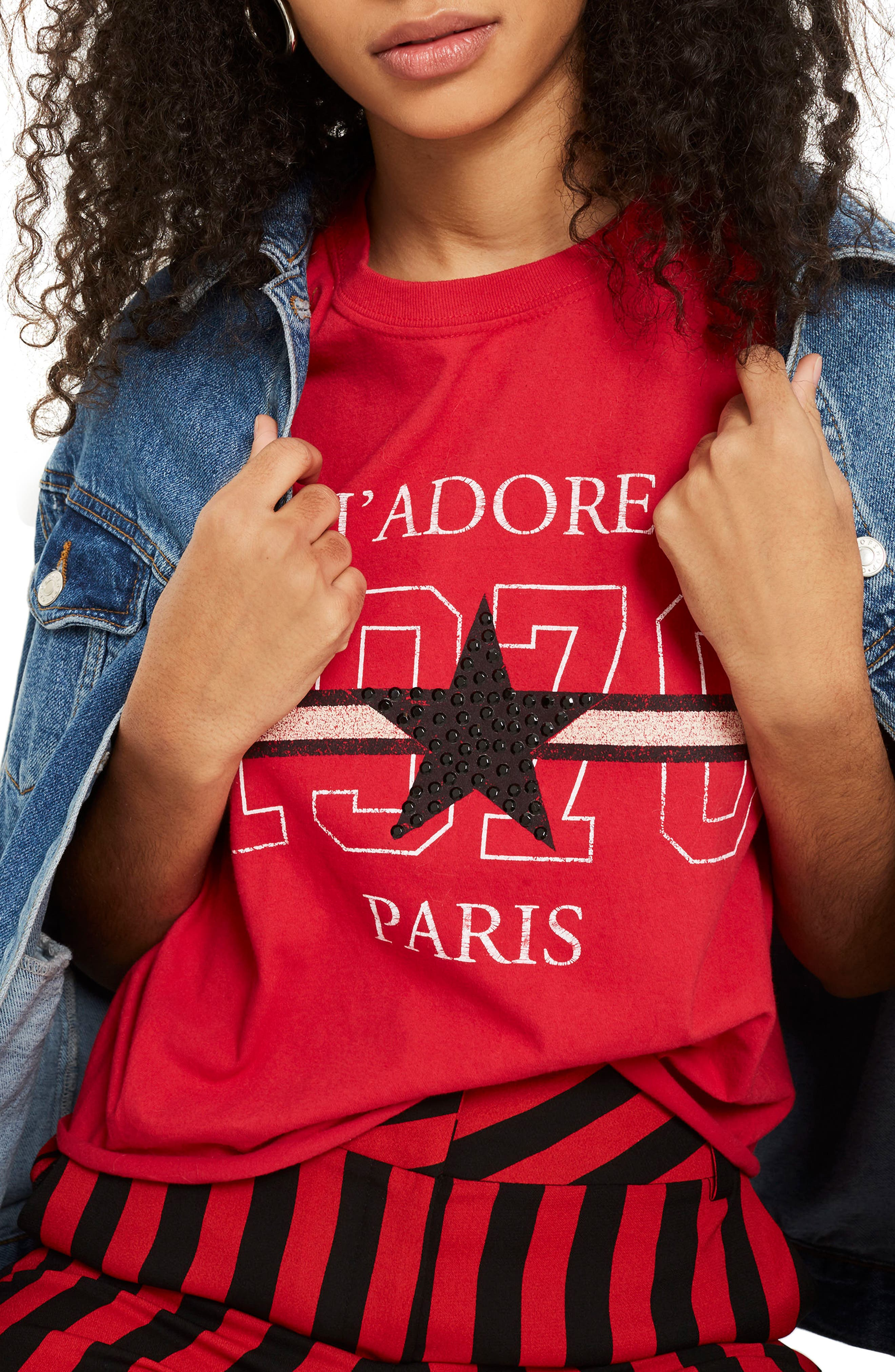 J'Adore Studded Crop T-Shirt,                         Main,                         color, Red Multi