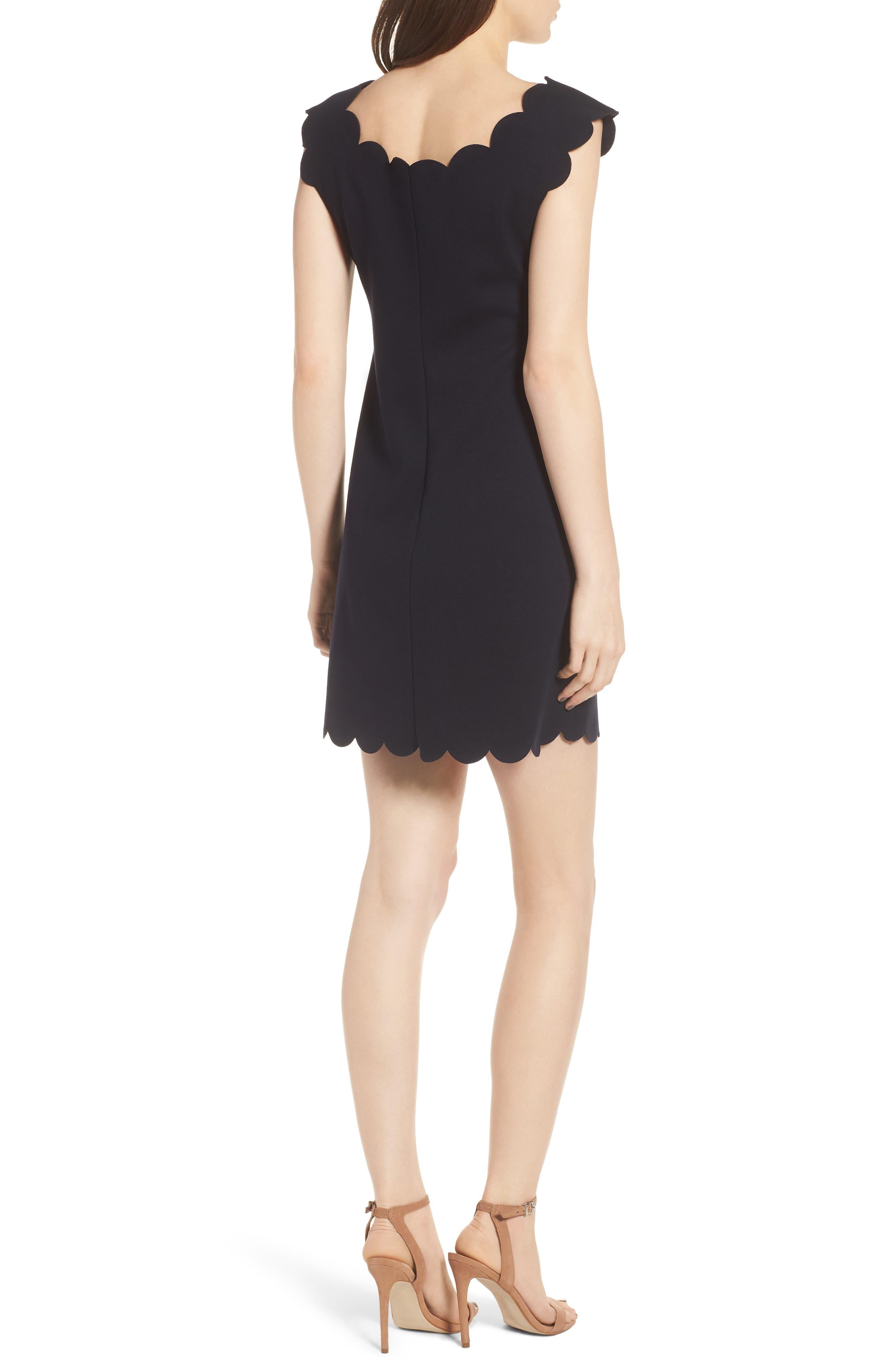 Petal Scalloped A-Line Dress,                             Alternate thumbnail 2, color,                             Midnight