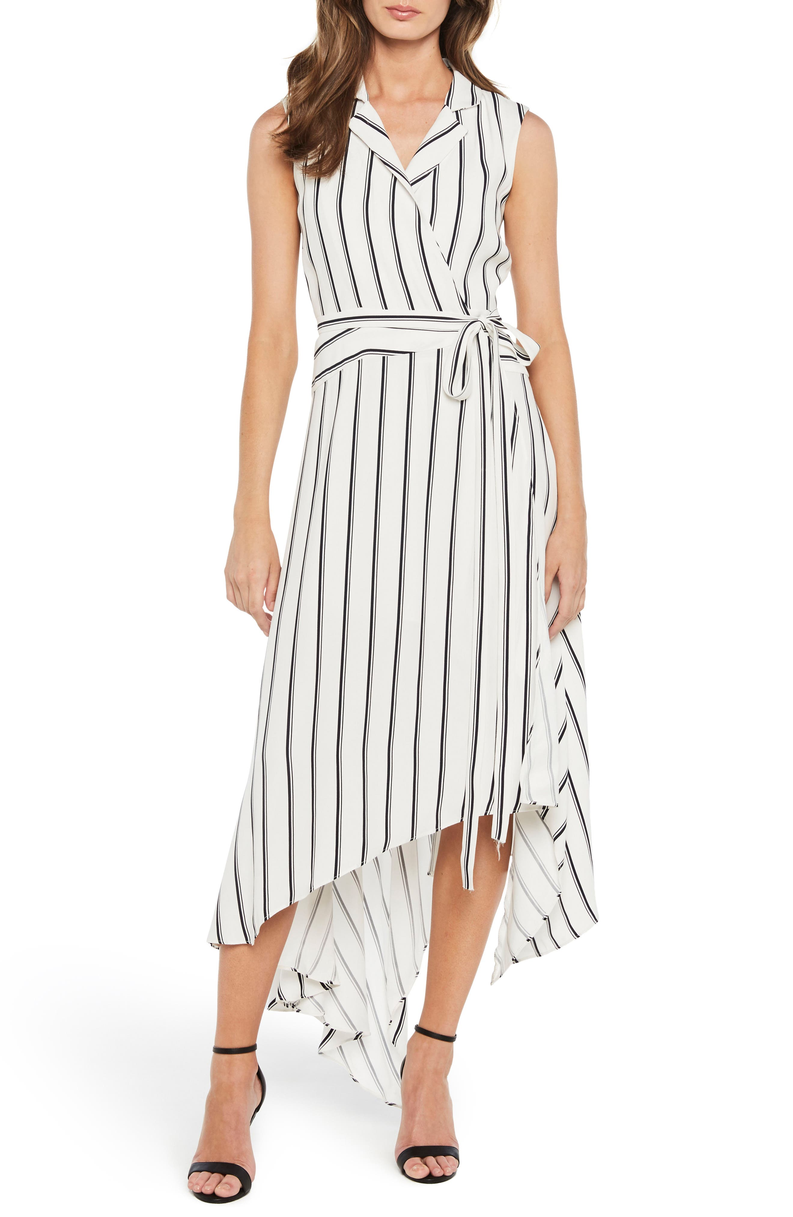 Bardot Salina Stripe Asymmetric Wrap Dress
