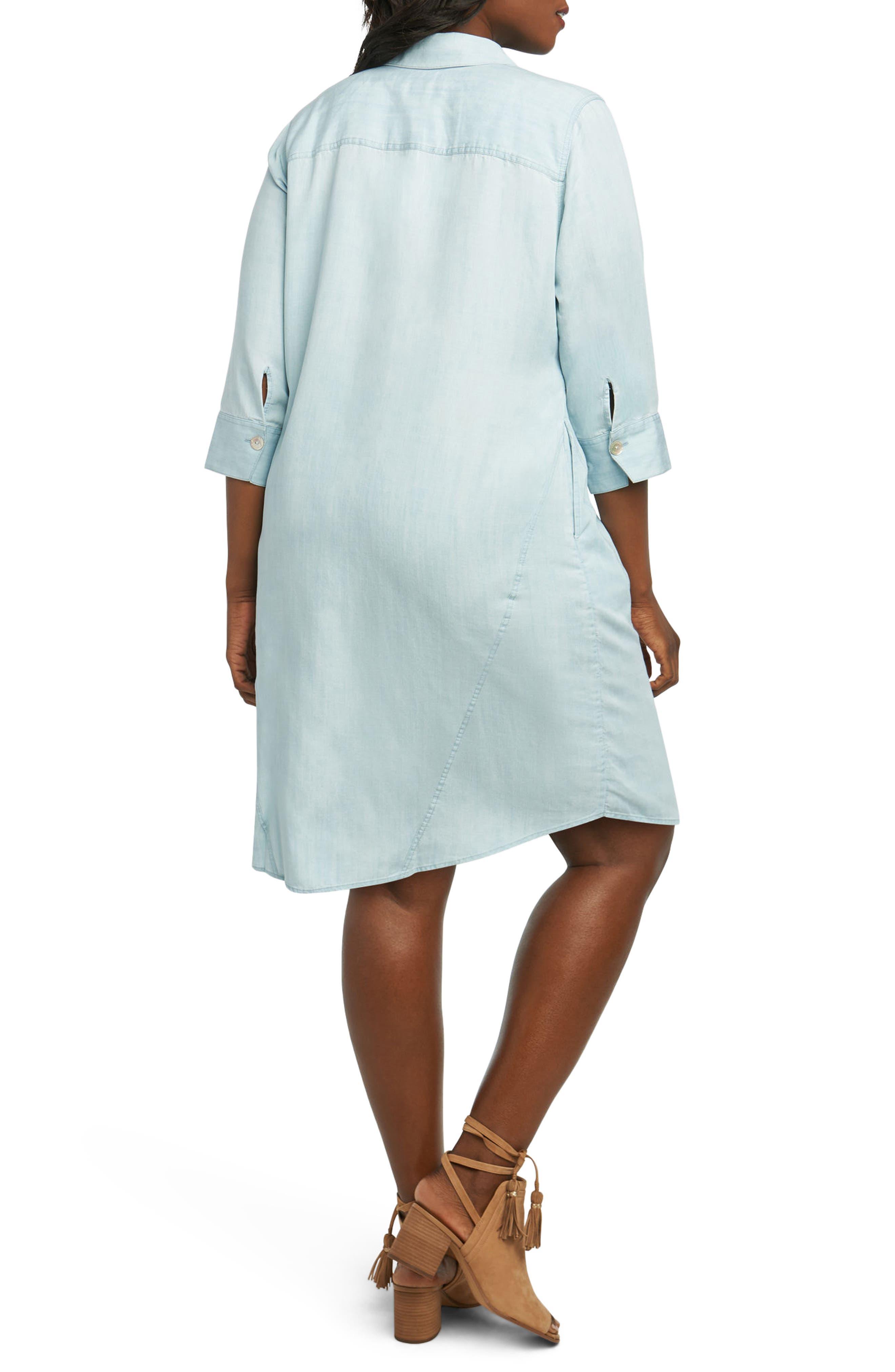 Nicolette Chambray Shift Dress,                             Alternate thumbnail 2, color,                             Blue Wash