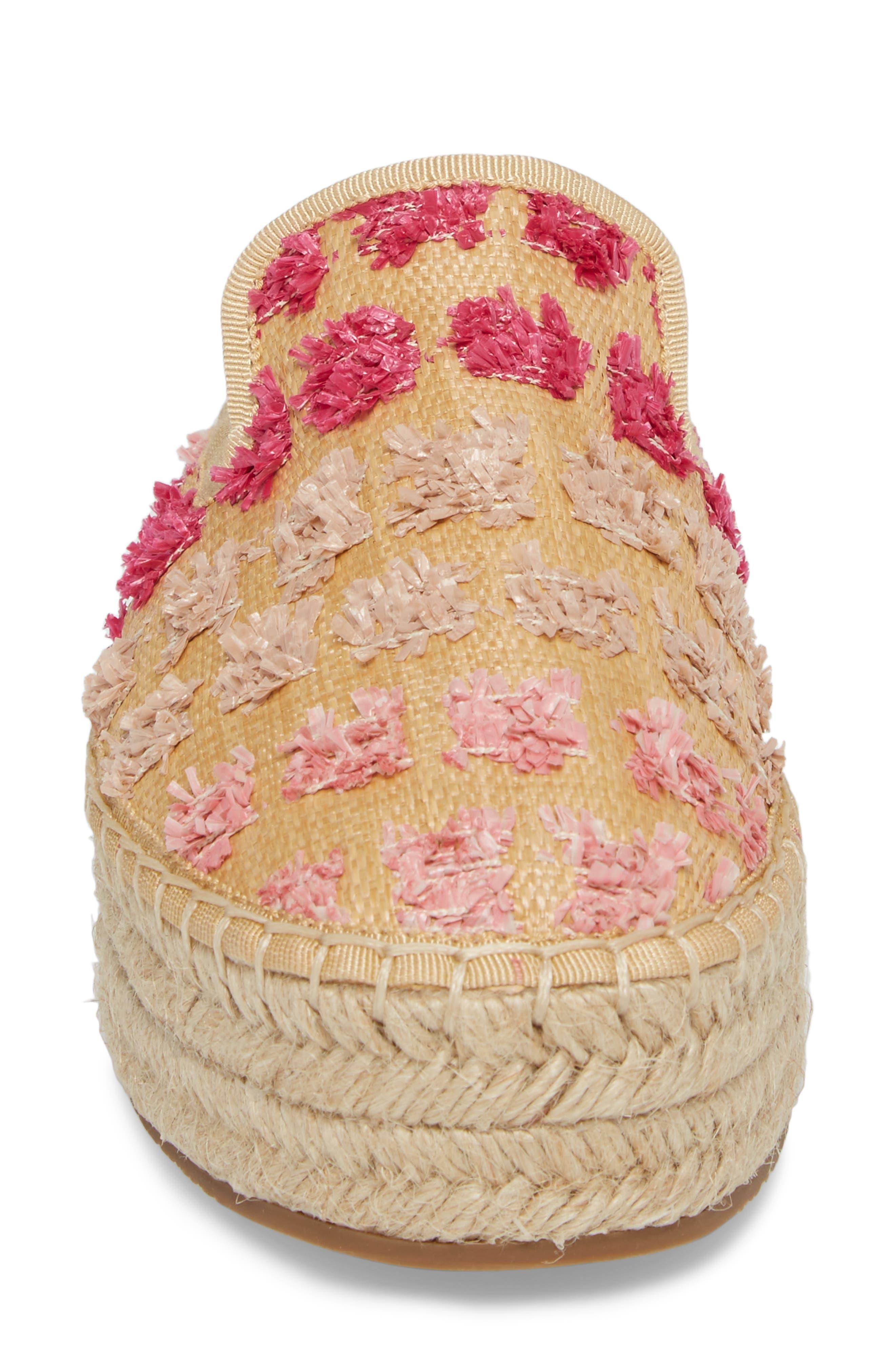 Marlowe Tufted Espadrille Loafer Mule,                             Alternate thumbnail 4, color,                             Pink Multi Faux Raffia