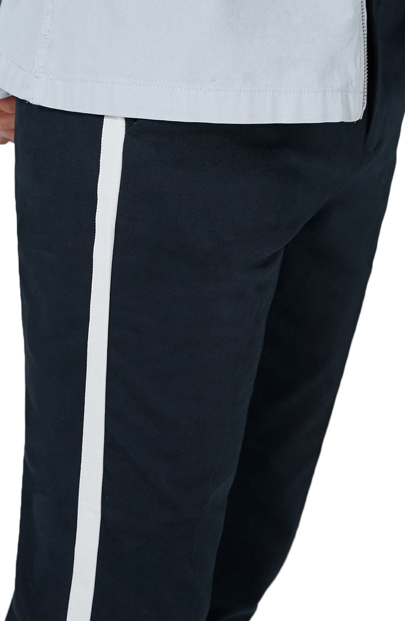 Skinny Fit Cropped Twill Trousers,                             Alternate thumbnail 3, color,                             Dark Blue Multi