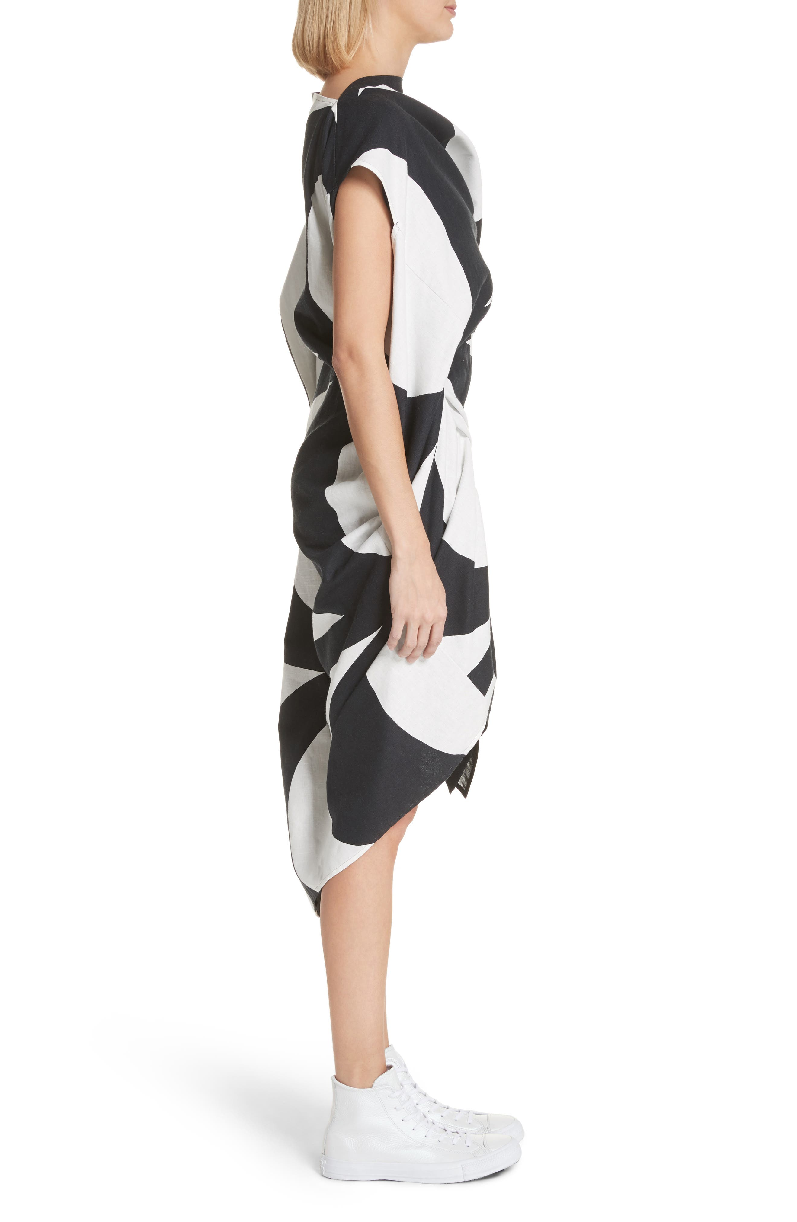 Circular Print Asymmetrical Draped Dress,                             Alternate thumbnail 3, color,                             Wht/ Blk X Blk