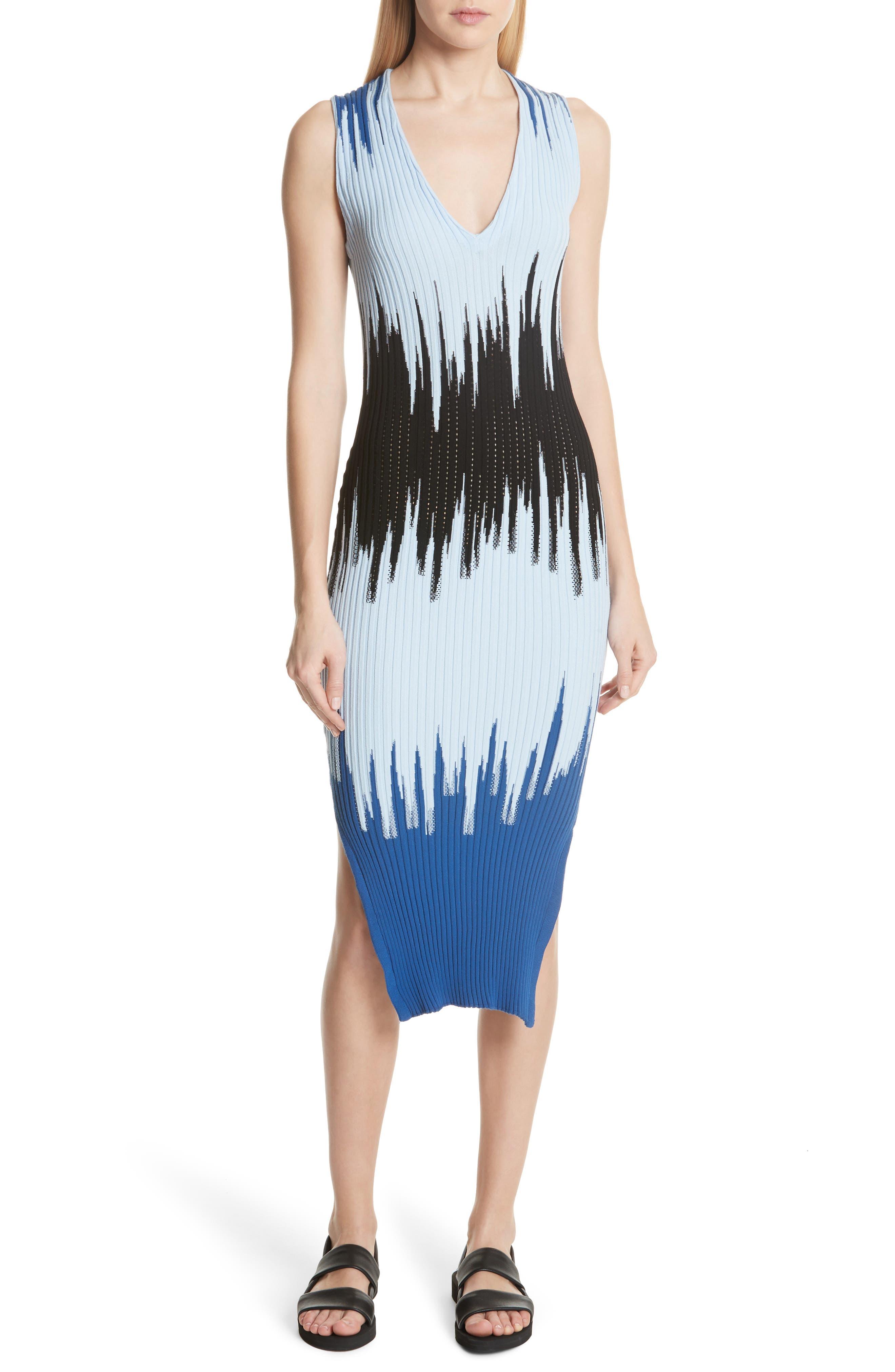 Intarsia Ribbed Body-Con Dress,                             Main thumbnail 1, color,                             Blue Multi