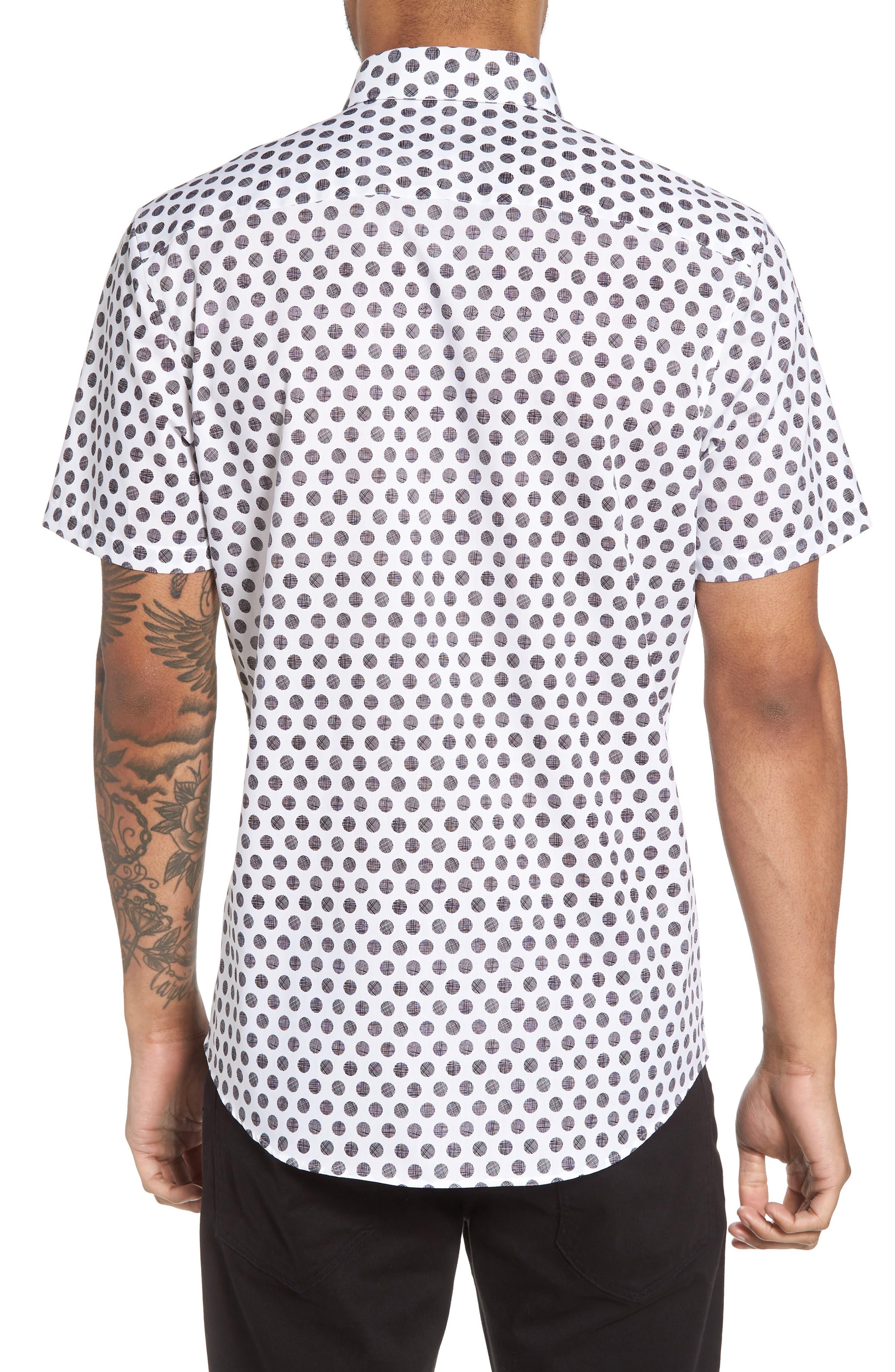 Dot Sport Shirt,                             Alternate thumbnail 3, color,                             White Black Hatch Dot